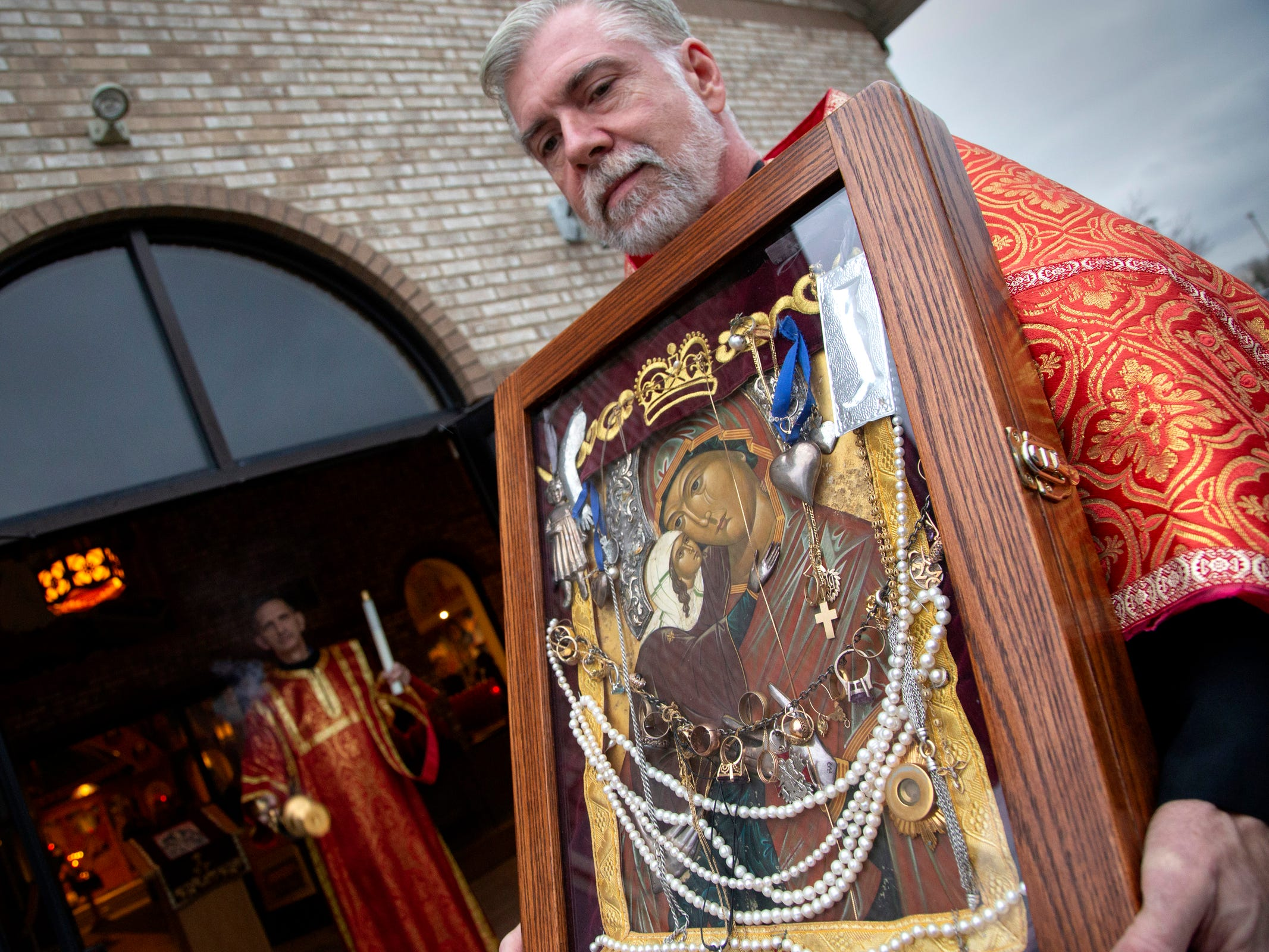 An icon of St. Anna was delivered to Fr. Michael Butler and Holy Transfiguration Orthodox Church in Livonia Saturday, Nov. 17, 2018. The icon was delivered by Monk Michael from St. Tikhon's monastery in Waymart Pennsylvania.
