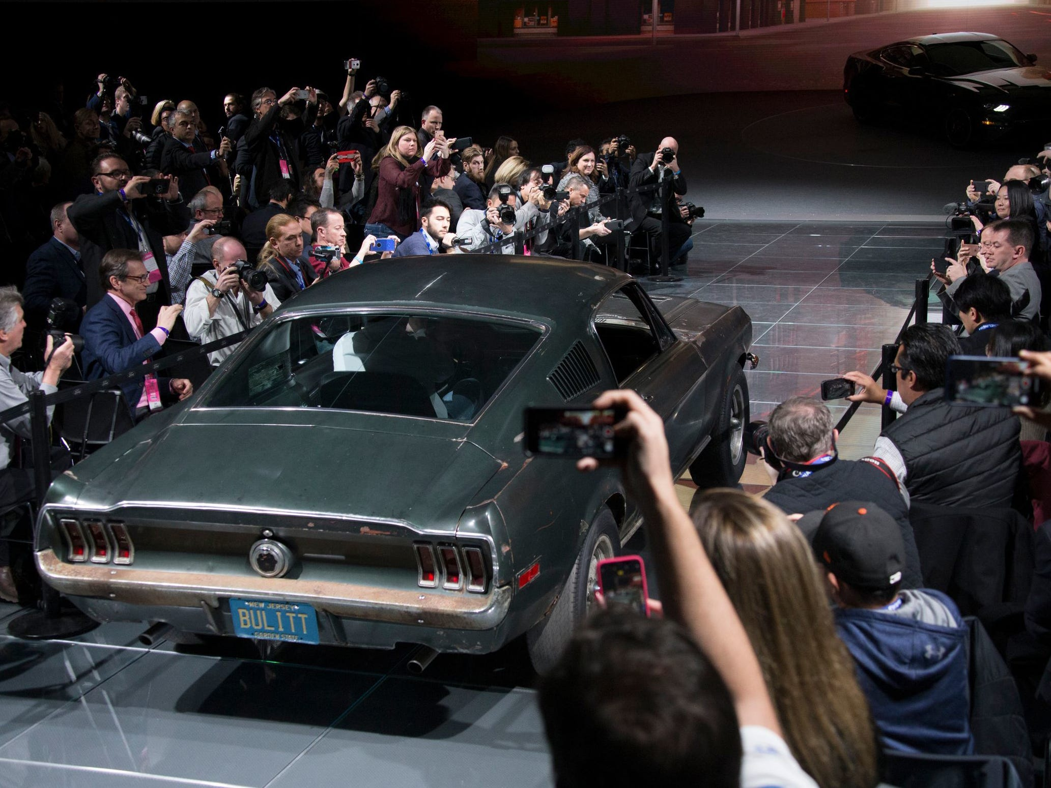 "The original 1968 Mustang in the Steve McQueen movie ""Bullitt"" made an appearance during the North American International Auto Show at Detroit's Cobo Center Sunday, Jan. 14, 2018."