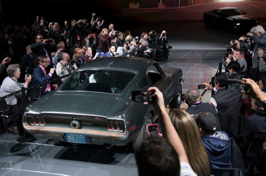 """The original 1968 Mustang in the Steve McQueen movie """"Bullitt"""" made an appearance during the North American International Auto Show at Detroit's Cobo Center in 2018."""