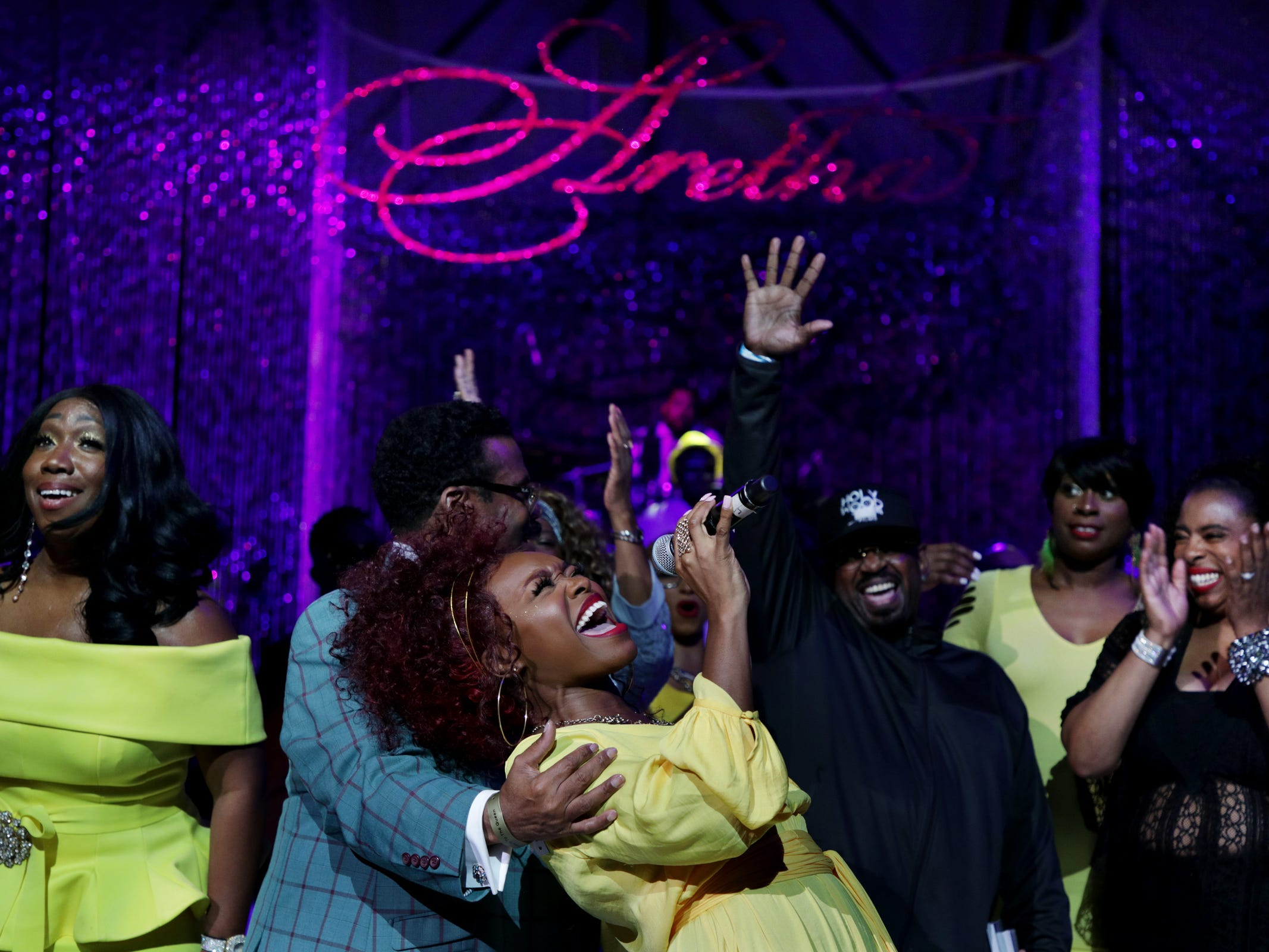 Cherri Black performs at the Aretha Franklin tribute concert at Chene Park Amphitheater in Detroit on Thursday, August 30, 2018.