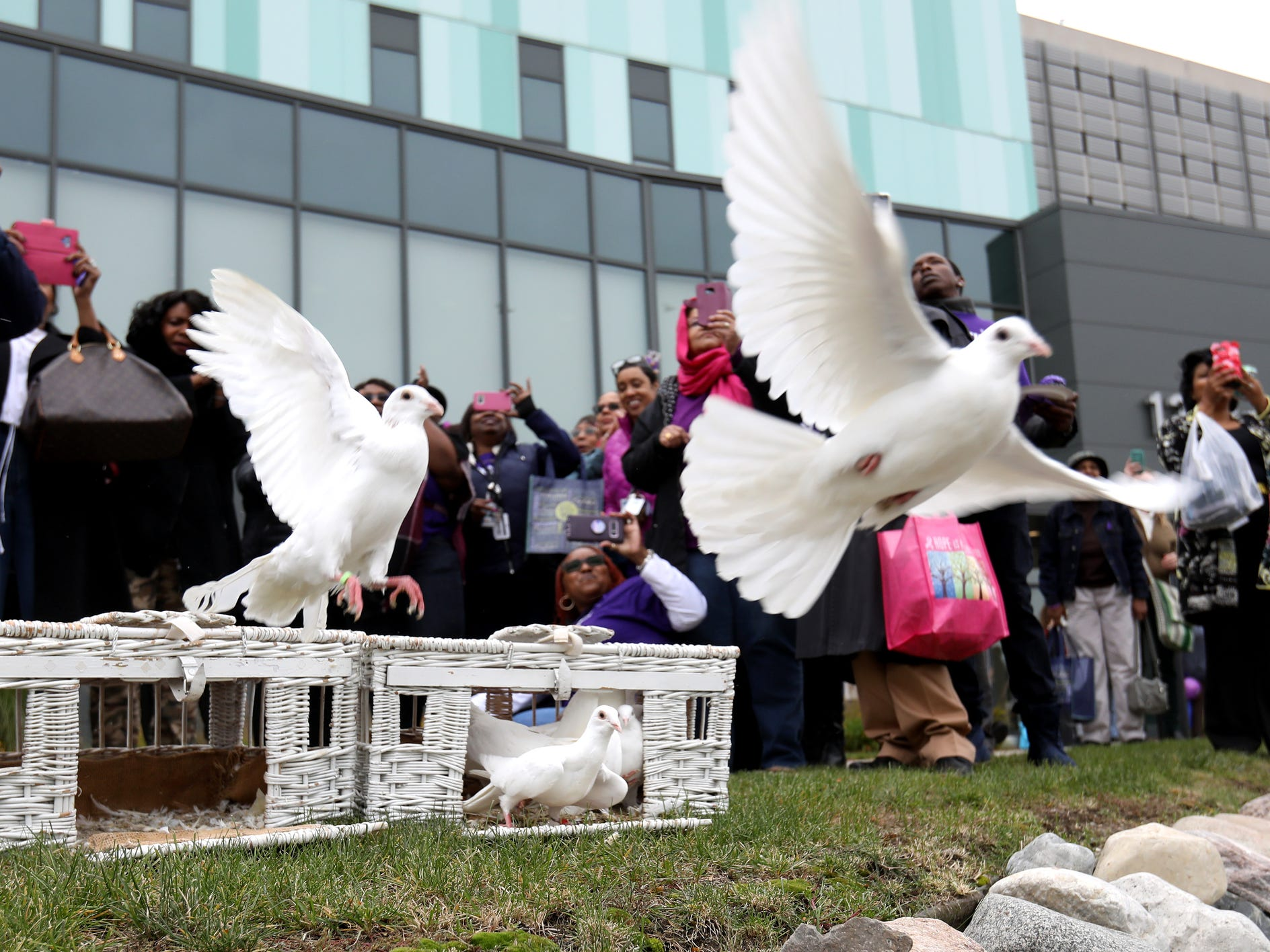 White doves are release after a domestic violence seminar held at the Detroit Public Safety Headquarters in Detroit on Friday, October 26, 2018.