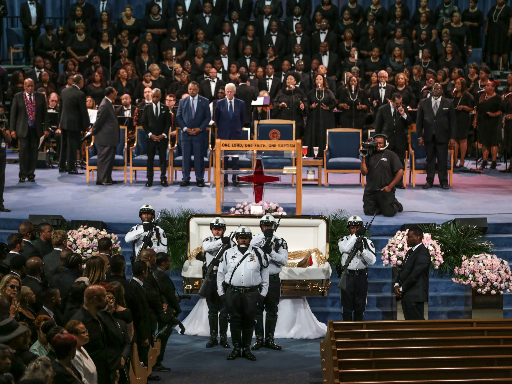 The DPD Honor Guard stands at attenetion during the funeral of Aretha Franklin at Greater Grace Temple in Detroit on Friday, August 31, 2018.