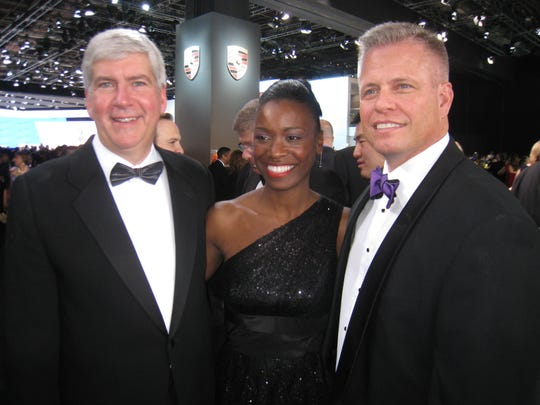 Michigan Gov. Rick Snyder with Orlene Hawks and Mike Hawks of Okemos at the 2011 North American International Auto Show Charity Preview  Gala at Cobo Center in Detroit on Friday, Jan. 14, 2011. ONEITA JACKSON/Detroit Free Press