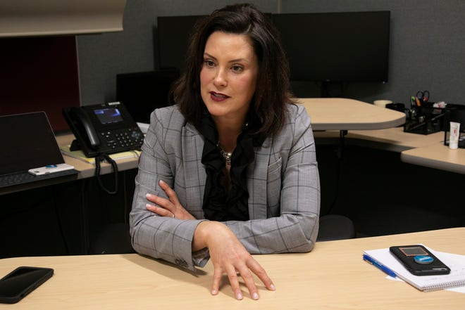 Michigan Governor-Elect Gretchen Whitmer, announces cabinet appointments from her temporary office space in Lansing on Thursday, Dec. 27, 2018.