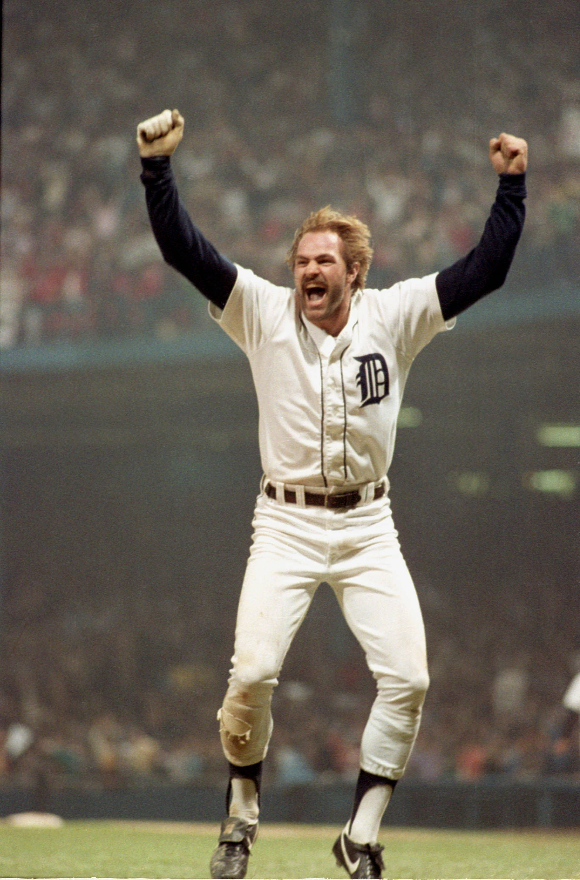 Detroit Free Press photographer Mary Schroeder captured what is arguably one of Detroit's most iconic sports photos - Detroit Tiger Kirk Gibson celebrating one of two home runs in Game 5 of the World Series against the San Diego Padres on Oct. 14, 1984.