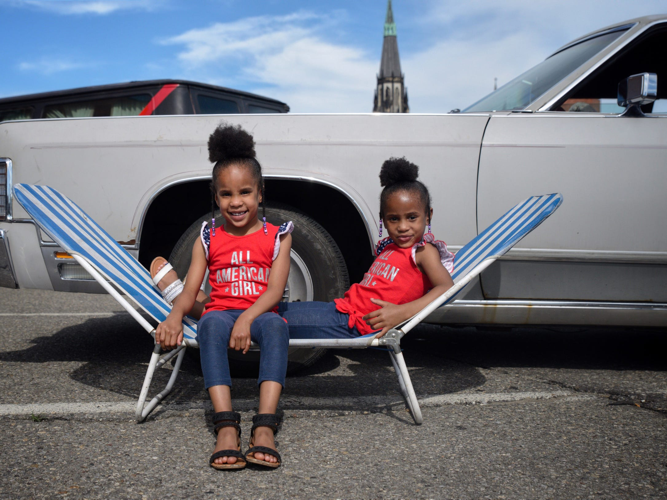 Mariah and Myah Molborough pose for a portrait before the 2018 Ford Fireworks in Detroit on Monday, June 25, 2018.