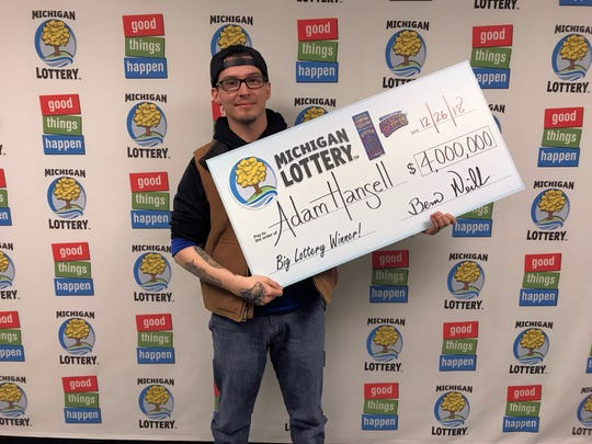 Adam Hansell recently won $4 million on a Michigan Lottery instant ticket. He claimed his prize Dec. 26, 2018.