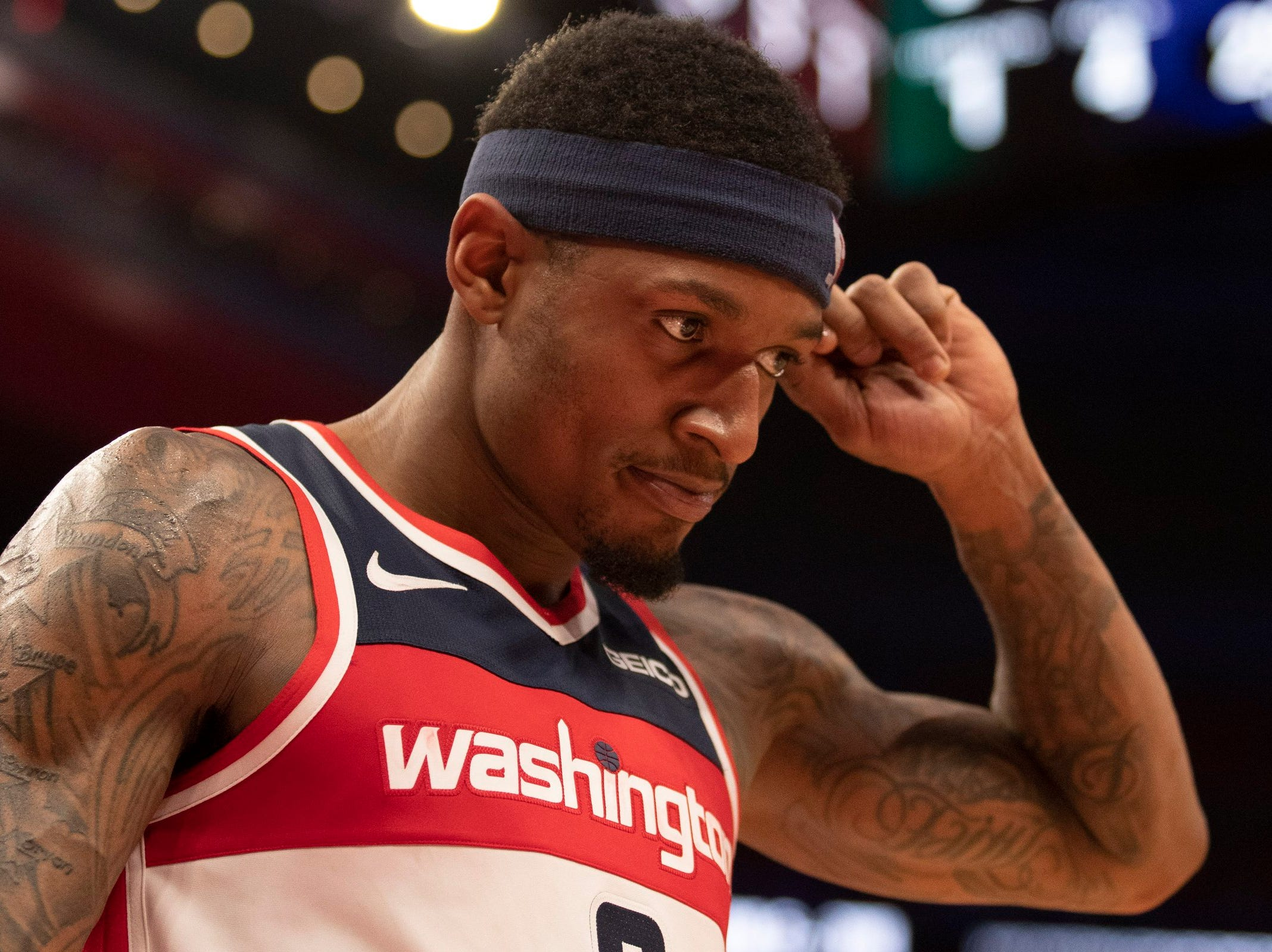 Washington Wizards guard Bradley Beal (3) walks off the court during the fourth quarter against the Detroit Pistons at Little Caesars Arena.