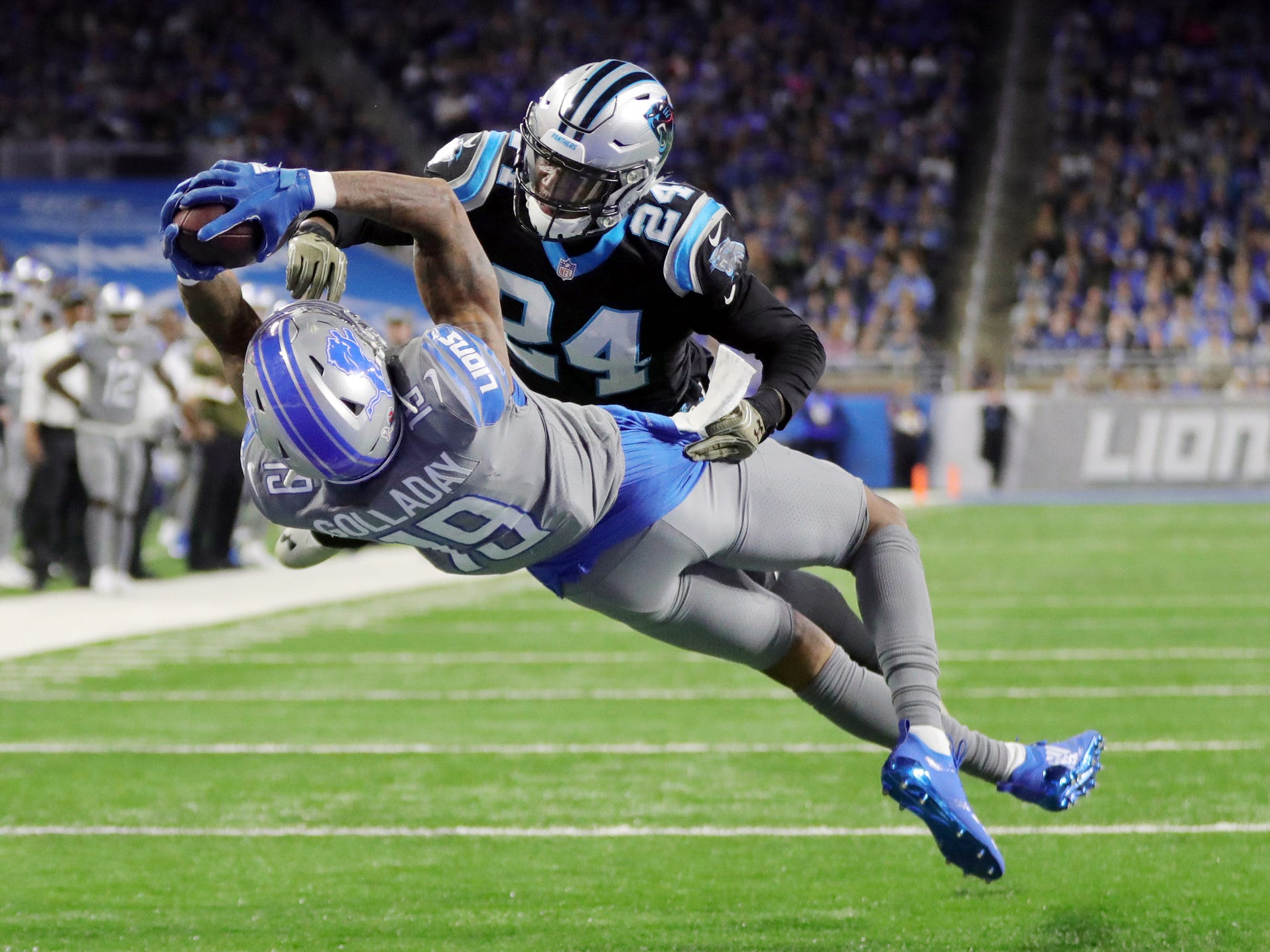 Detroit Lions receiver Kenny Golladay makes the game winning catch against Carolina Panthers cornerback James Bradberry in the second half on Sunday, November 18, 2018 at Ford Field in Detroit.