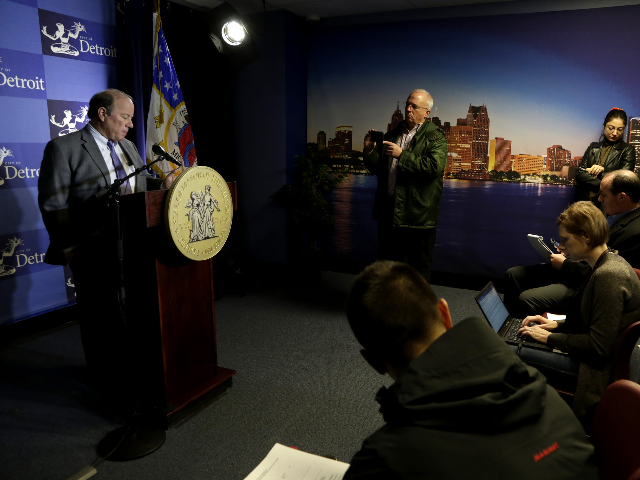 Detroit Mayor Mike Duggan held a press conference Monday, Nov. 26, 2018 at Detroit City Hall. Duggan announced that he has asked the state police to open an investigation into the conduct of Robert Carmack, a city businessman whose agitation campaign against Duggan went public earlier this month