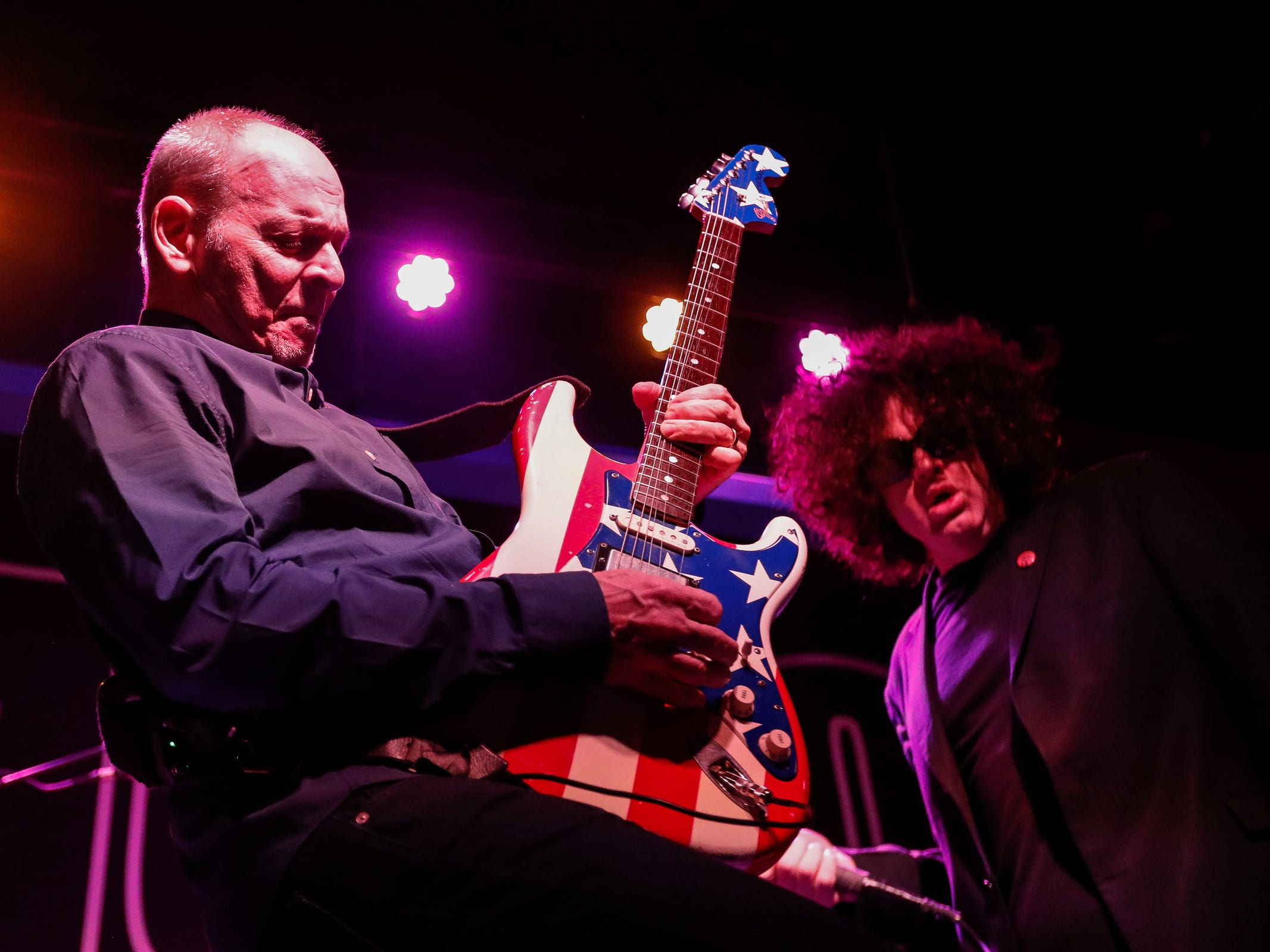 "Wayne Kramer and other musicians that who made up the MC50 perform during ""Kick Out the Jams"" at Third Man Records in Detroit, Tuesday, Oct. 30, 2018."
