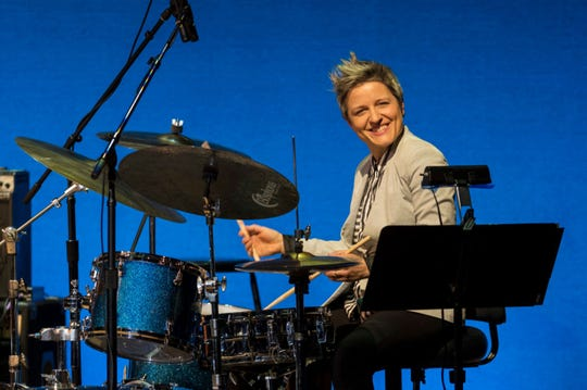 American jazz drummer Allison Miller performs with the Woman to Woman Band at Kaufmann Concert Hall at the 92nd Street Y, New York, New York, Friday, March 2, 2018. (Jack Vartoogian/Getty Images/TNS) *USE WITH THIS STORY ONLY*