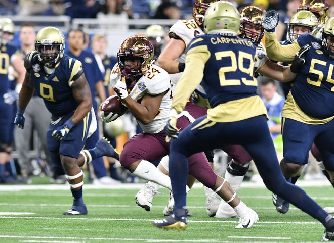 Minnesota running back Mohamed Ibrahim (24) ran all over the Georgia Tech defense, racking up 224 yards and two touchdowns on 31 carries in Wednesday's 34-10 win in the Quick Lane Bowl at Ford Field.