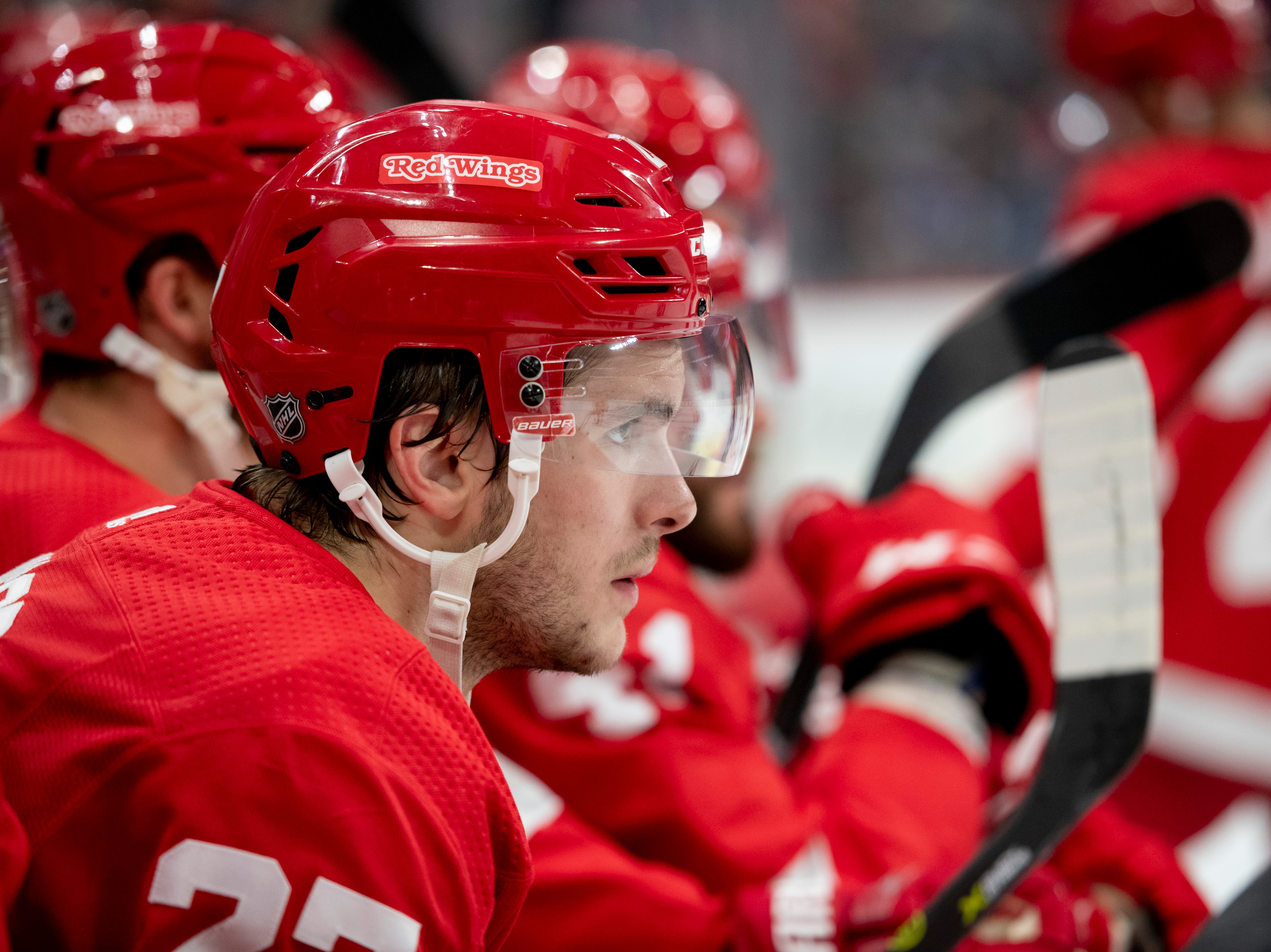 Detroit center Michael Rasmussen            Photos are of the Detroit Red Wings vs. the Toronto Maple Leafs, at Little Caesars Arena, in Detroit, October 11, 2018.  (David Guralnick / The Detroit News)