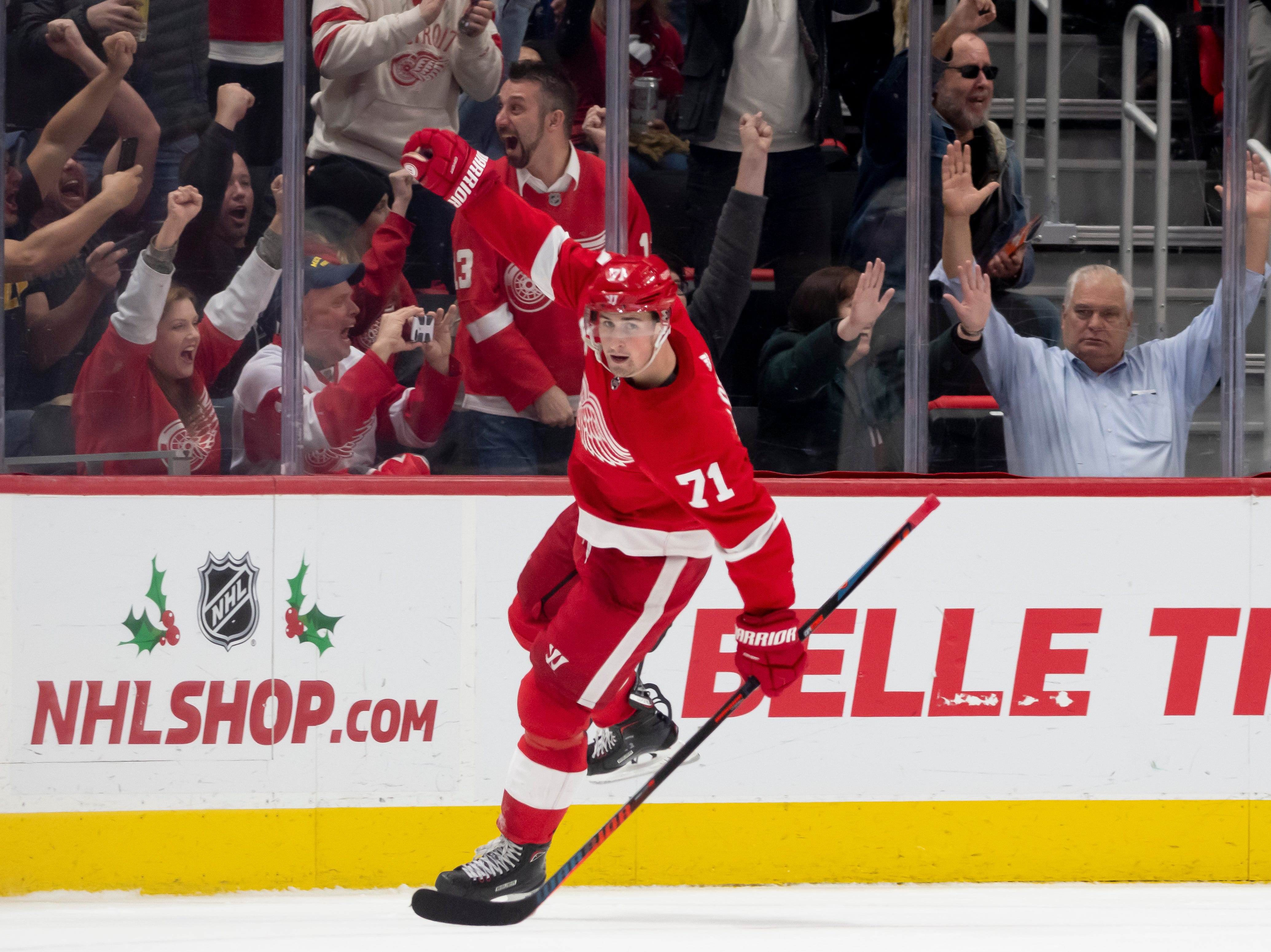 Detroit center Dylan Larkin celebrates after scoring in the second period.             Photos are of the Detroit Red Wings vs. the Los Angeles Kings, at Little Caesars Arena, in Detroit, December 10, 2018.  (David Guralnick / The Detroit News)