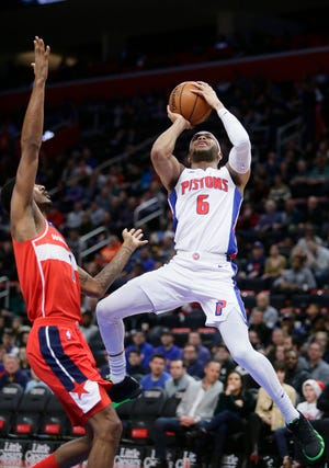 Pistons rookie guard Bruce Brown (6) finished with a team-high plus-25 in Wednesday's 106-95 win over the Wizards.