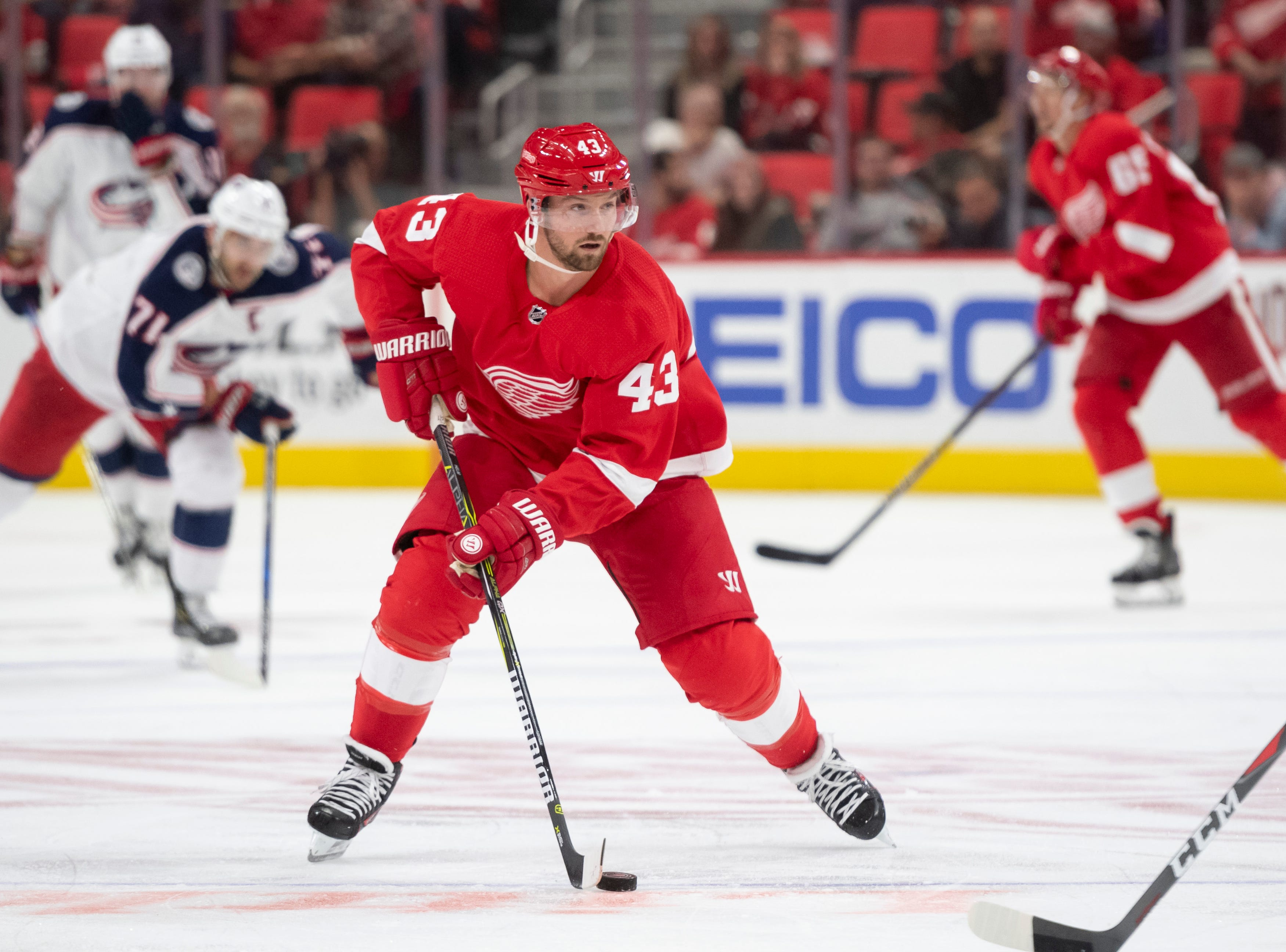 Detroit center Darren Helm                Photos are of the Detroit Red Wings vs. the Columbus Blue Jackets, at Little Caesars Arena, in Detroit, October 4, 2018.  (David Guralnick / The Detroit News)