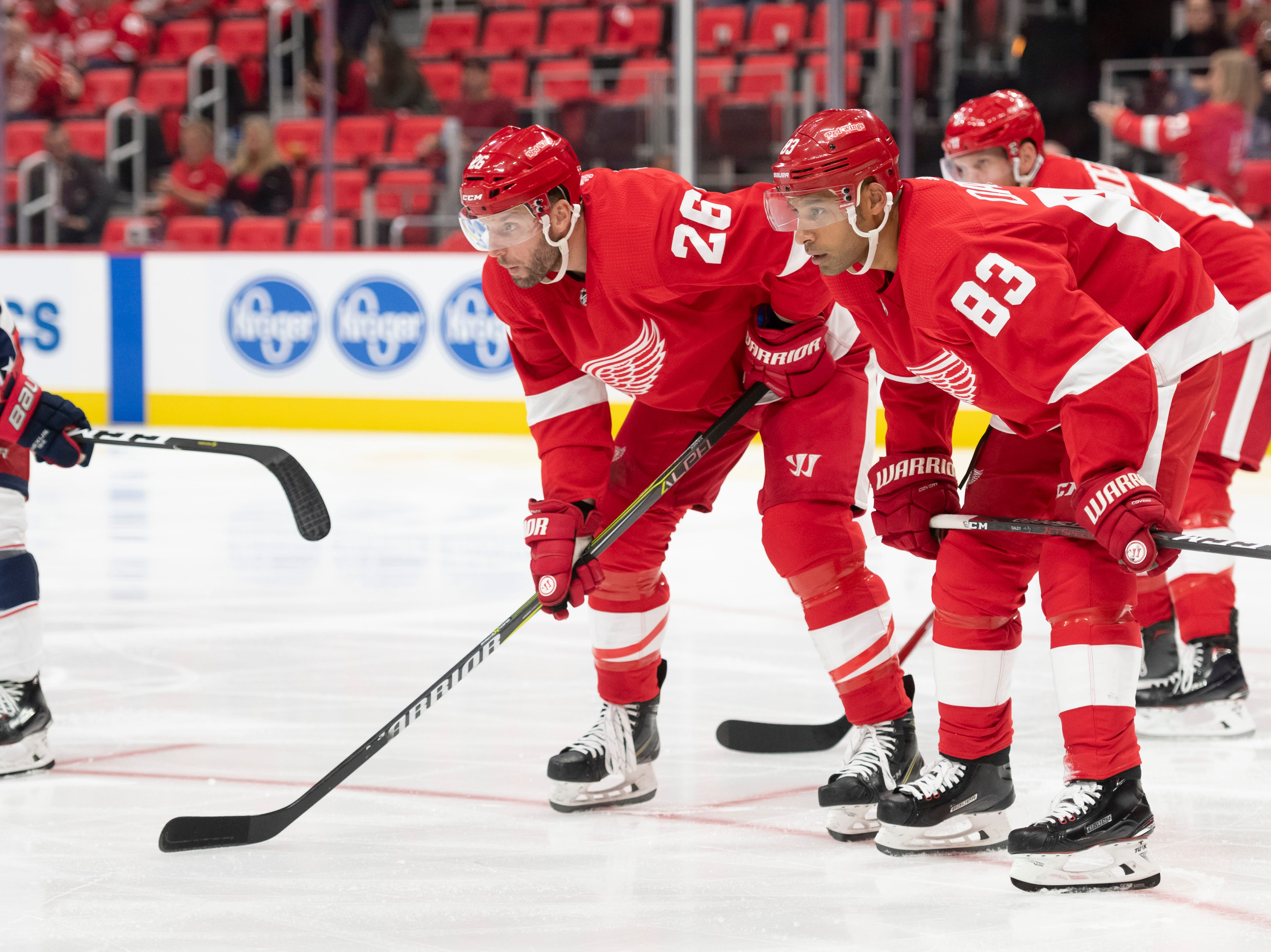 Detroit left wing Thomas Vanek, left, and defenseman Trevor Daley.               Photos are of the Detroit Red Wings vs. the Columbus Blue Jackets, at Little Caesars Arena, in Detroit, October 4, 2018.  (David Guralnick / The Detroit News)