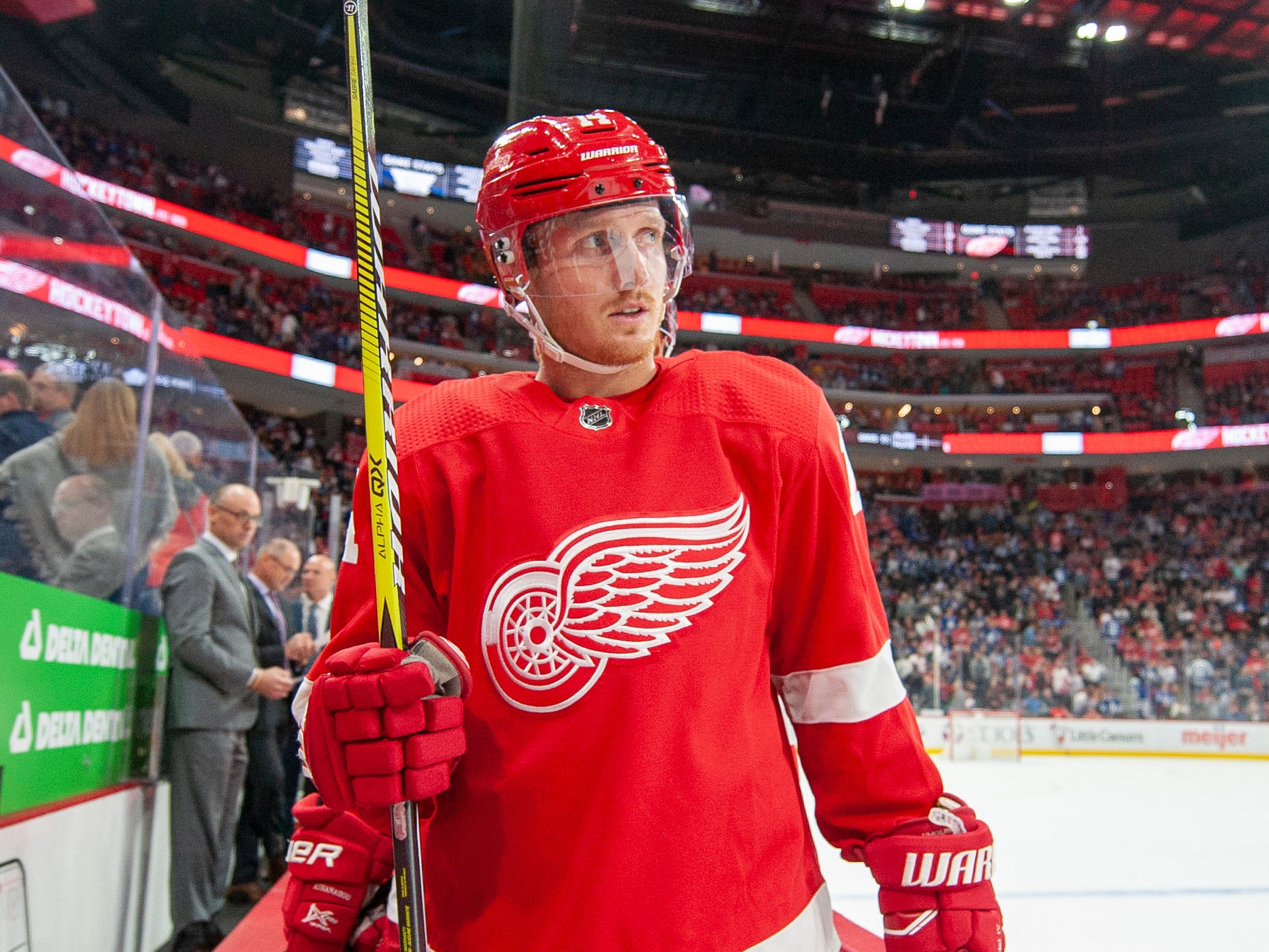 Detroit center Gustav Nyquist            Photos are of the Detroit Red Wings vs. the Toronto Maple Leafs, at Little Caesars Arena, in Detroit, October 11, 2018.  (David Guralnick / The Detroit News)