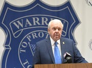Warren Police Commissioner William Dwyer holds a press conference Thursday  concerning a civil lawsuit filed against him by Warren Deputy Police Commissioner Matthew Nichols, at the Warren Police Department.