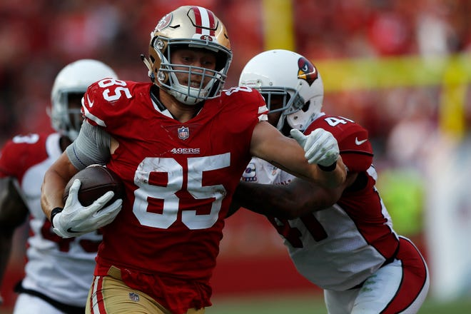 49ers tight end George Kittle has racked up 1,228 receiving yards heading into the regular-season finale.