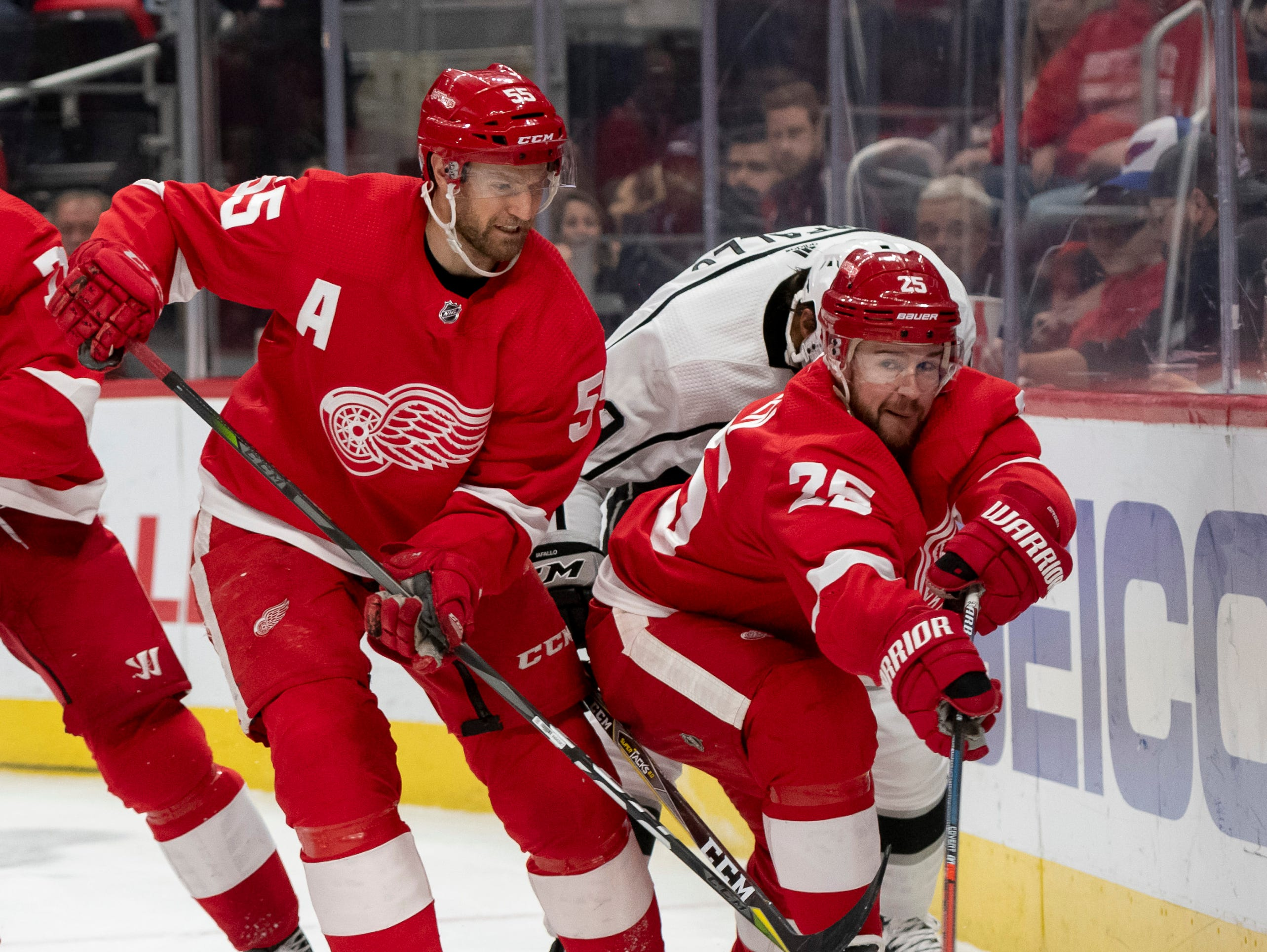 Detroit defensemen Niklas Kronwall, left, and Mike Green            Photos are of the Detroit Red Wings vs. the Los Angeles Kings, at Little Caesars Arena, in Detroit, December 10, 2018.  (David Guralnick / The Detroit News)