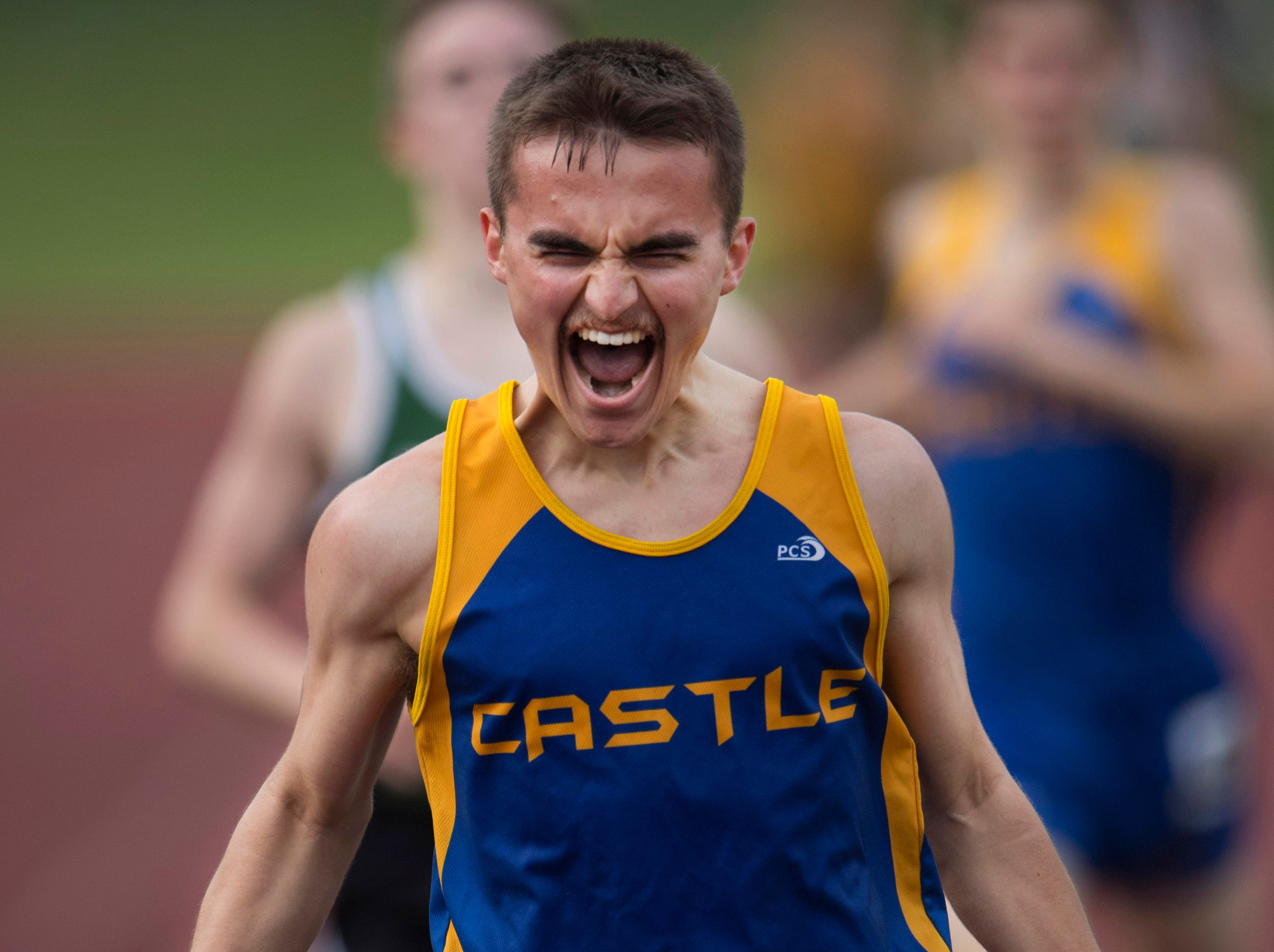 Ethan Jones celebrates his fifth-place finish in the 1600 meter run during the SIAC Track & Field Meet at Central Stadium Friday evening. He ran a personal best of 4:41.47.