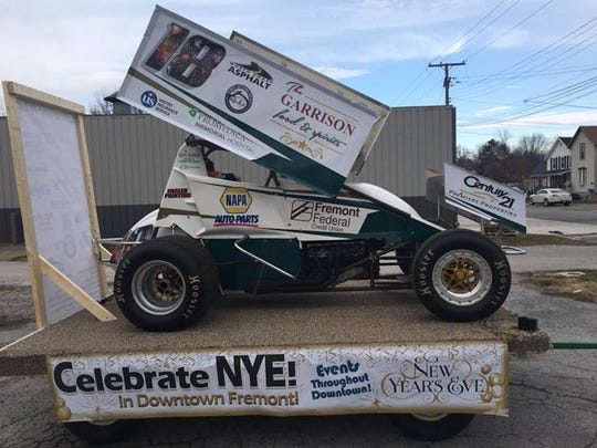This 1,400-pound sprint car decorated with LED lights and decals of local sponsors was lifted by a crane in  downtown Fremont when the clock struck midnight on New Year's Eve last year. Downtown Fremont, Inc. plans to do a sprint car drop again to celebrate the arrival of 2019.