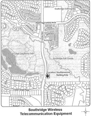 Location map for a potential cellular tower at Southridge Golf Course.