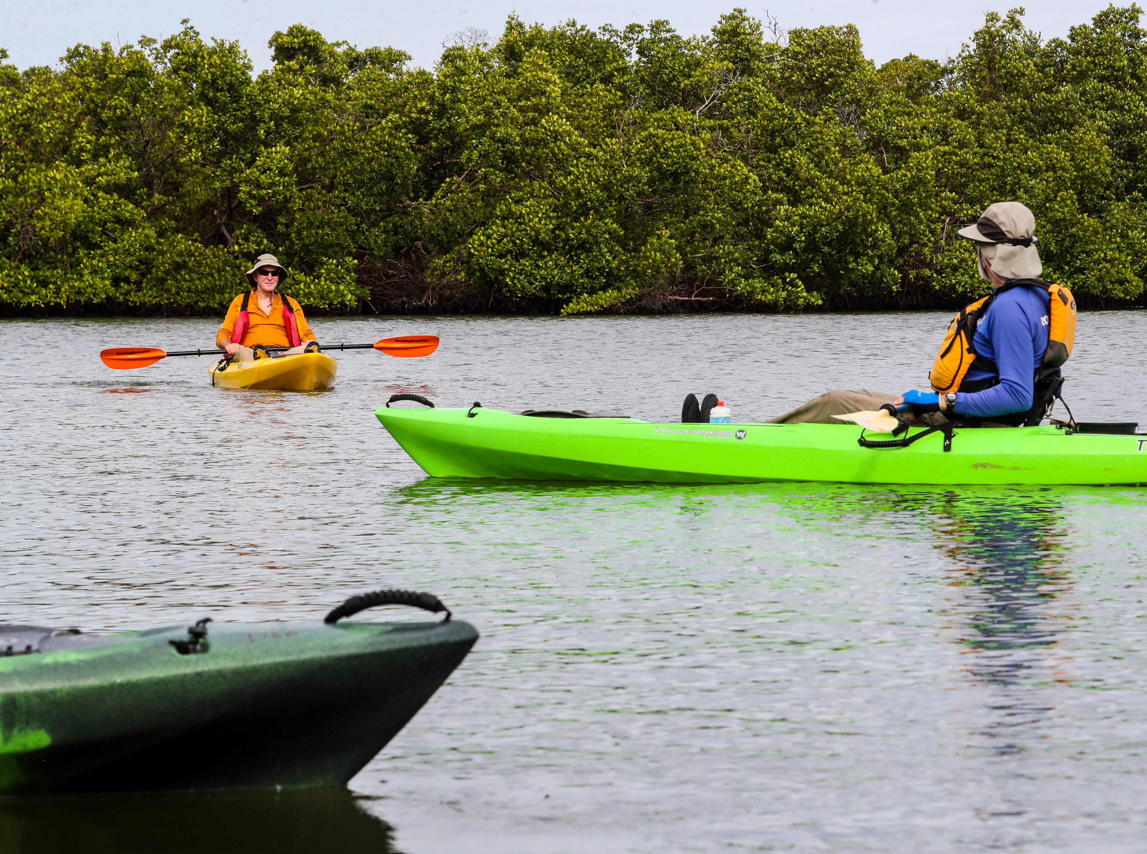 (right)Randy McCormick, captain and guide, talks to Martin Strasmore, of Naples, as they float on the water. Rookery Bay National Estuarine Research Reserve in Naples offers a two-hour guided kayak tour of Rookery Bay. This tour provides an up-close and personal experience of this irreplaceable national treasure. Paddle through the shallows and maze like mangrove tunnels while learning about  surroundings from an experienced guide and naturalist. Randy McCormick, captain and guide, has worked at the Reserve for many years and knows the area intimately. He is a Certified Interpretive Guide, an instructor in the Florida Master Naturalist program and a fifth generation Floridian.