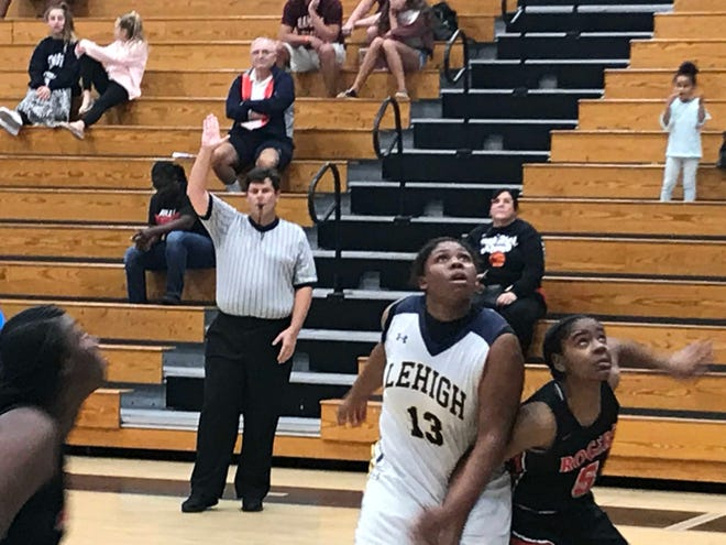 Lehigh's Aliesha Curry angles for a rebound on a free-throw attempt during the second half of Thursday morning's 70-45 loss to Toledo (Ohio)-Rogers in the first round of the Holiday Shootout in Naples.