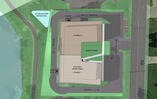 An overhead view of the apartment building proposed for 2050 Riverside Drive, in Allouez. The owners of the commercial building there now want to demolish it and build a $16 million building.