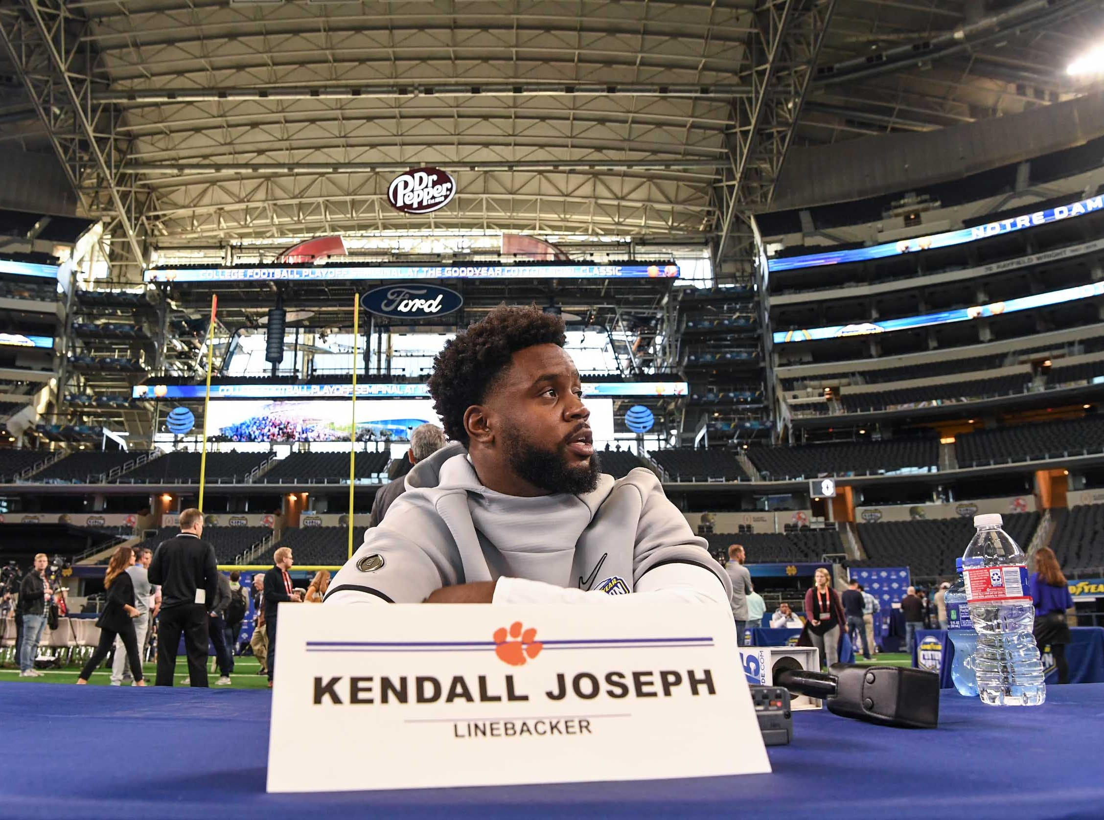 Clemson linebacker Kendall Joseph during Media Day for Clemson and Notre Dame at the AT&T Stadium in Dallas December 27, 2018.