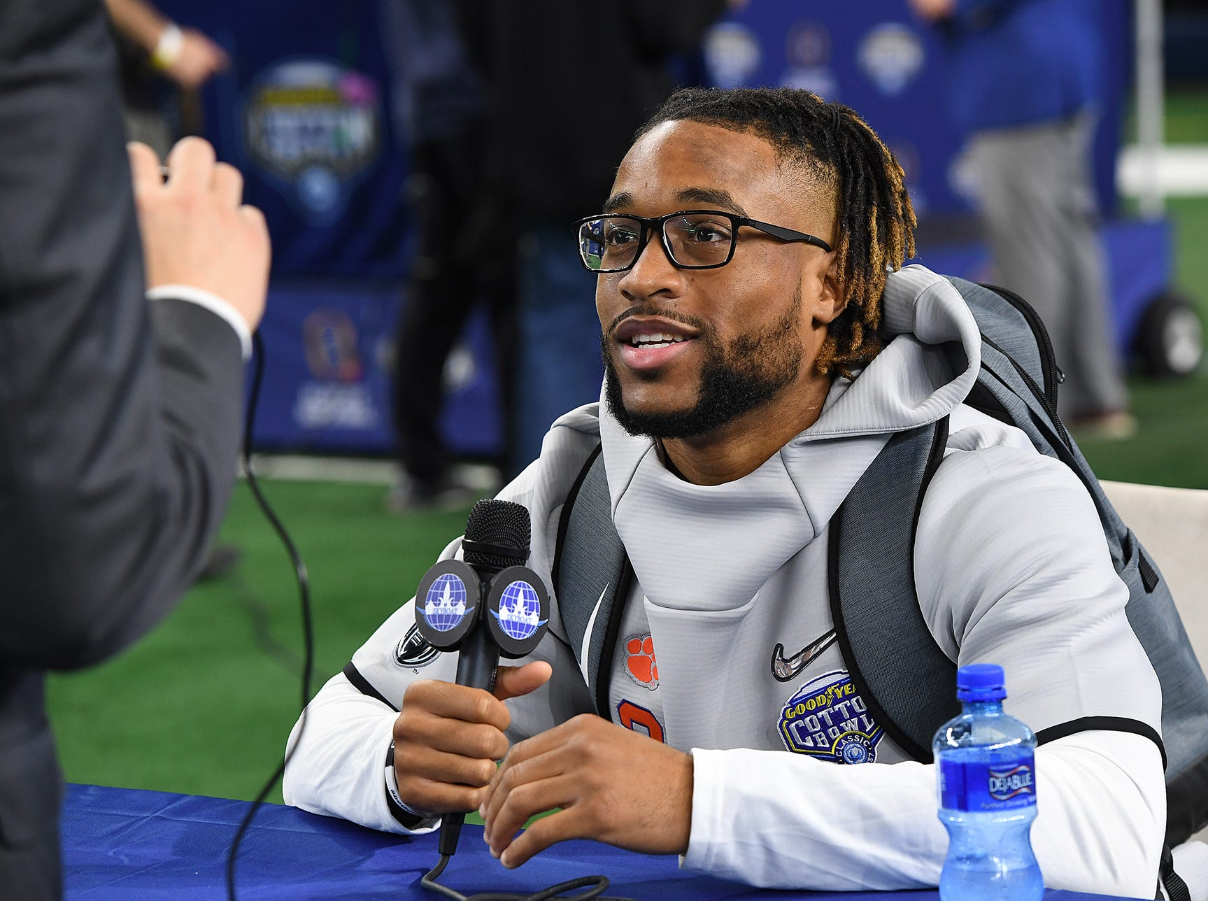 Clemson wide receiver Amari Rodgers (3) answers questions during the Tigers Cotton Bowl media day at AT&T Stadium in Arlington, TX Thursday, December 27, 2018.