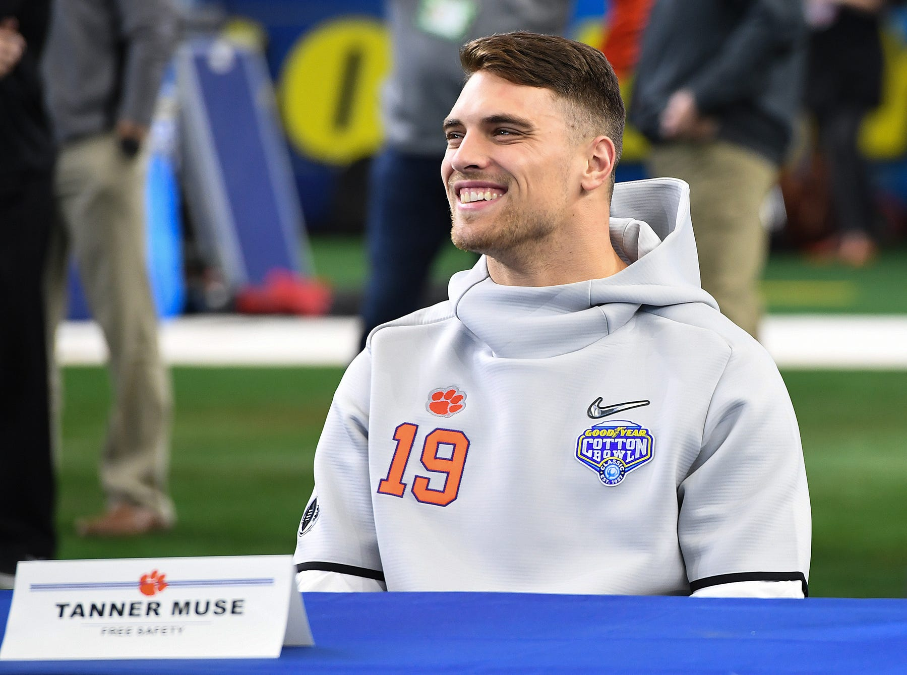 Clemson defensive back Tanner Muse during the Tigers Cotton Bowl media day at AT&T Stadium in Arlington, TX Thursday, December 27, 2018.