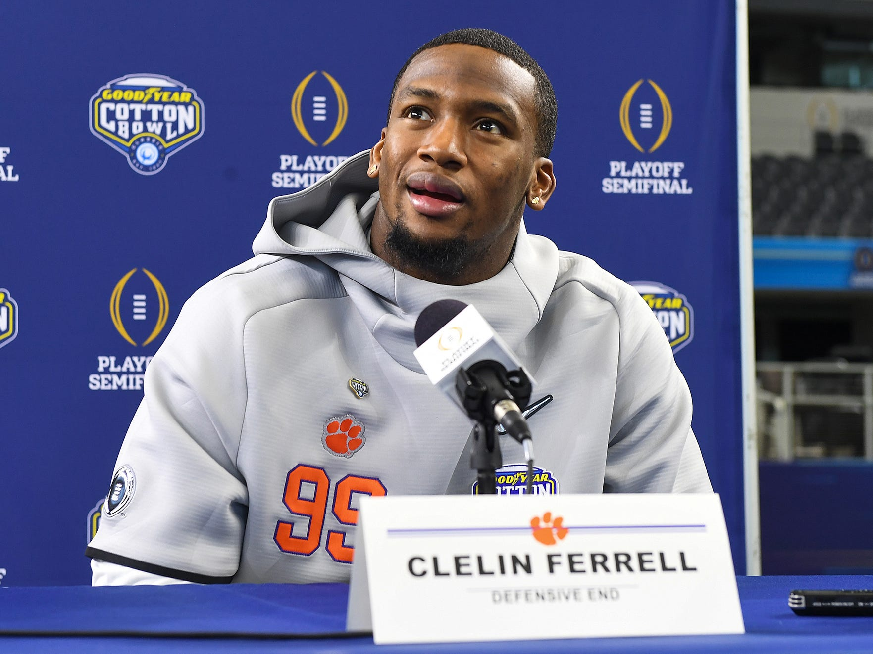 Clemson defensive lineman Clelin Ferrell (99) answers questions during the Tigers Cotton Bowl media day at AT&T Stadium in Arlington, TX Thursday, December 27, 2018.
