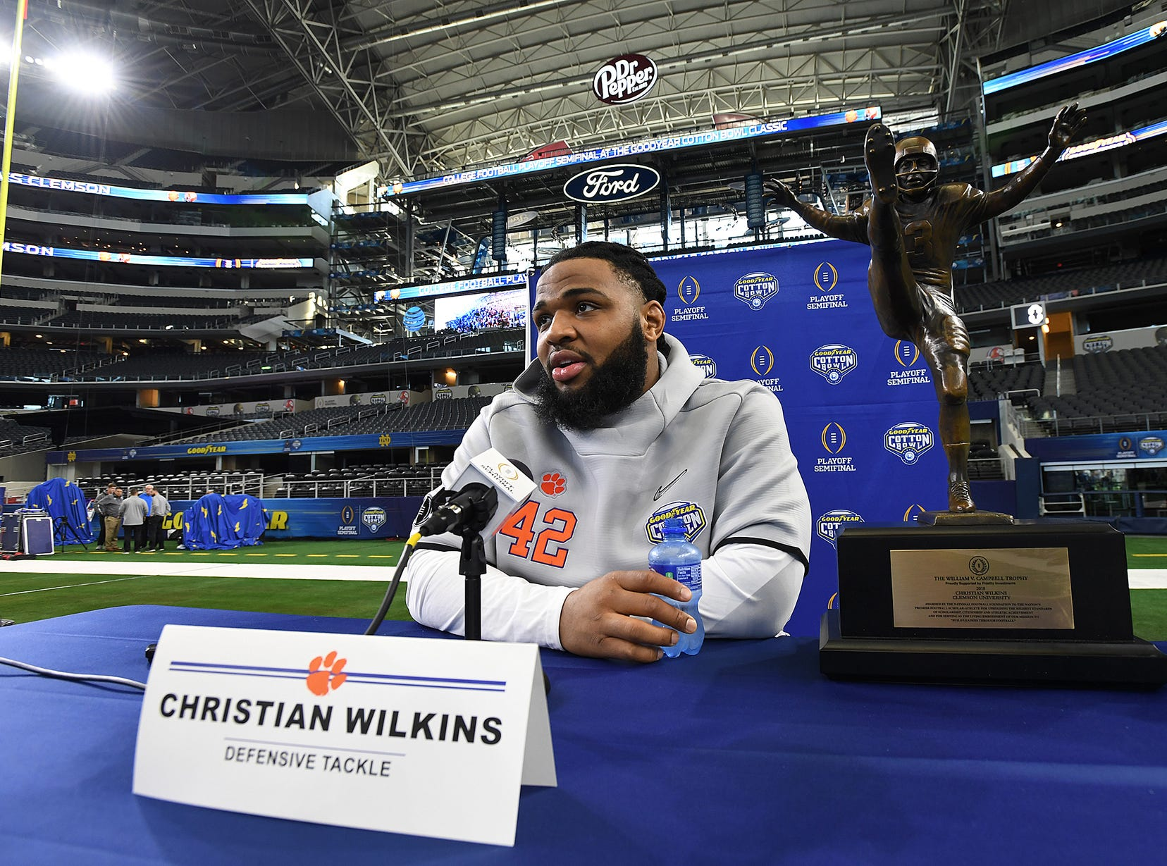 Clemson defensive lineman Christian Wilkins answers questions during the Tigers Cotton Bowl media day at AT&T Stadium in Arlington, TX Thursday, December 27, 2018.