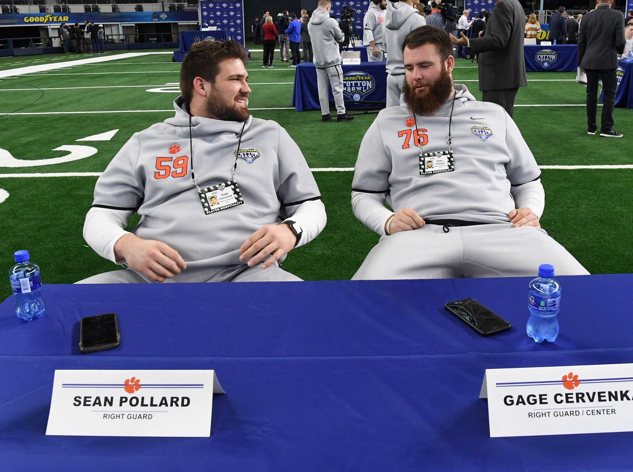 Clemson offensive lineman Gage Cervenka, left, and offensive lineman Sean Pollard during Media Day for Clemson and Notre Dame at the AT&T Stadium in Dallas December 27, 2018.