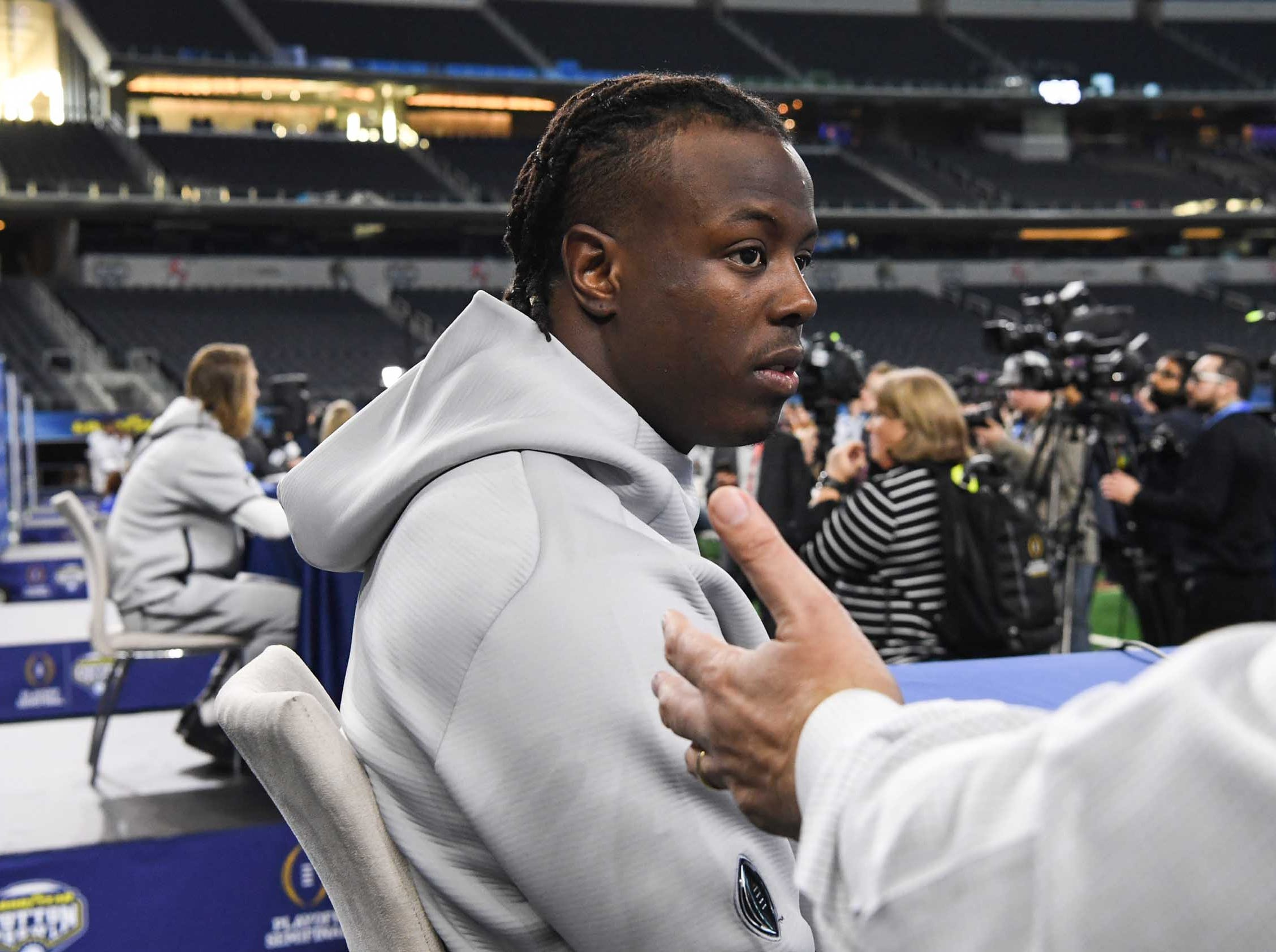 Clemson running back Travis Etienne during Media Day for Clemson and Notre Dame at the AT&T Stadium in Dallas December 27, 2018.