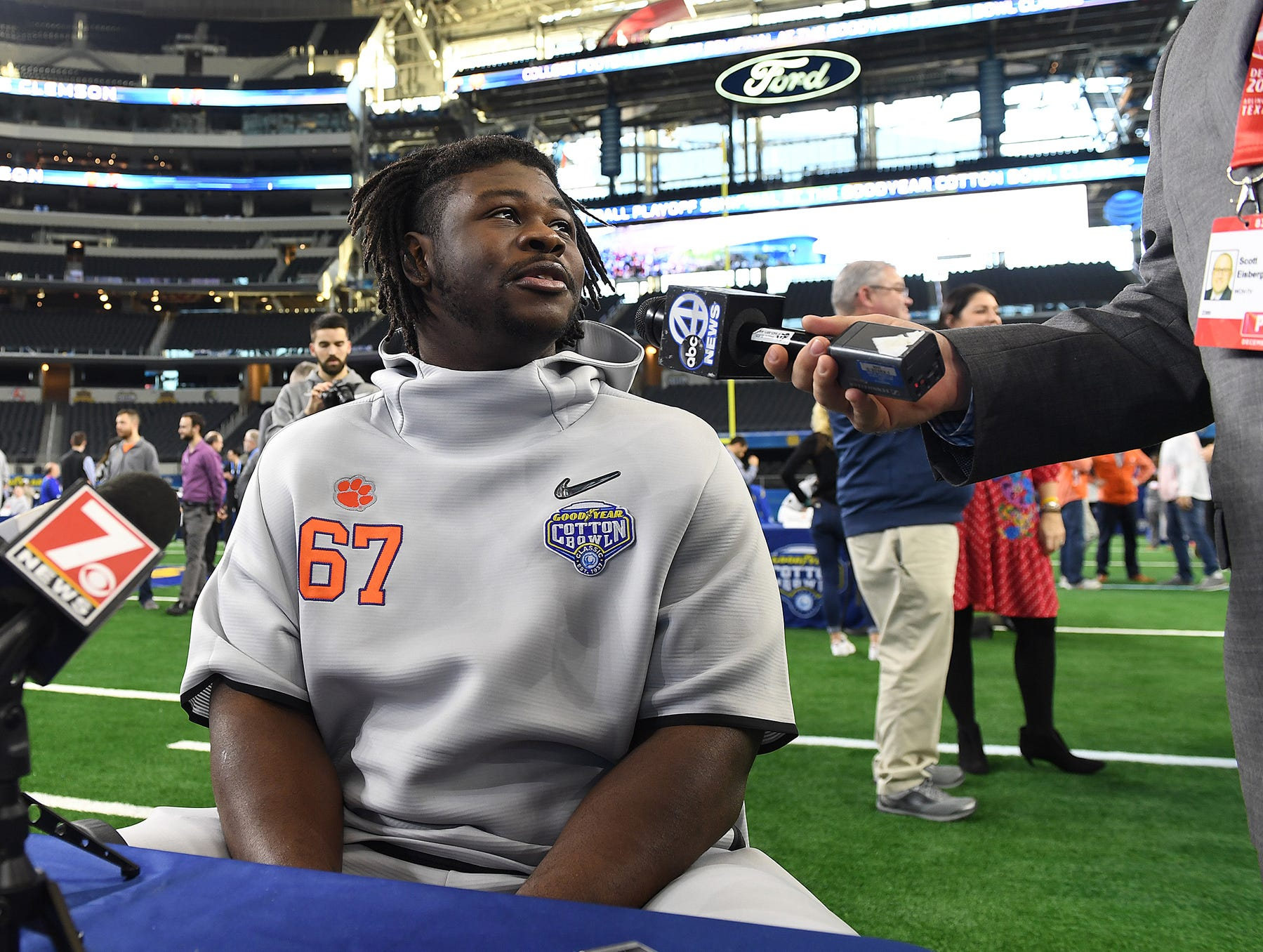 Clemson defensive lineman Albert Huggins answers questions during the Tigers Cotton Bowl media day at AT&T Stadium in Arlington, TX Thursday, December 27, 2018.