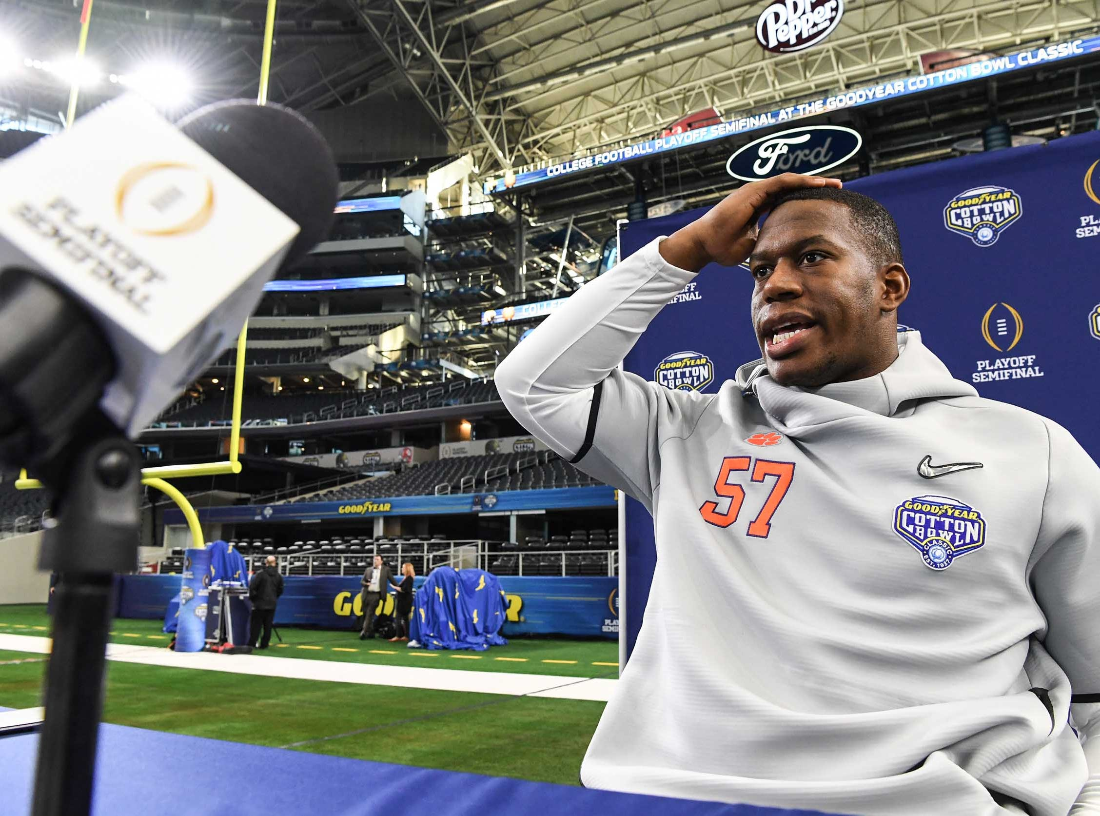 Clemson linebacker Tre Lamar talks during Media Day for Clemson and Notre Dame at the AT&T Stadium in Dallas December 27, 2018.