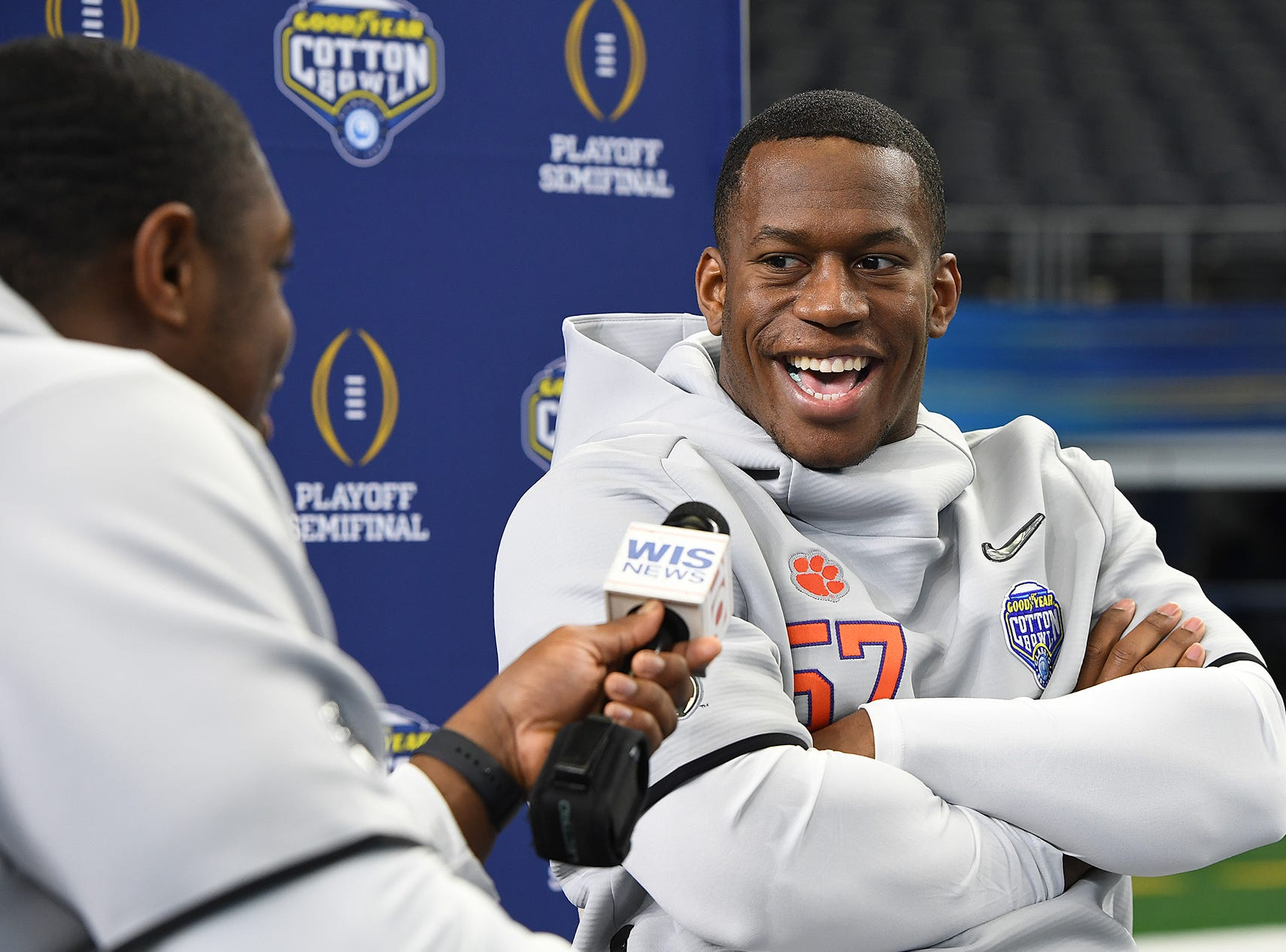 Clemson offensive lineman Tremayne Anchrum, left, interviews linebacker Tre Lamar during the Tigers Cotton Bowl media day at AT&T Stadium in Arlington, TX Thursday, December 27, 2018.