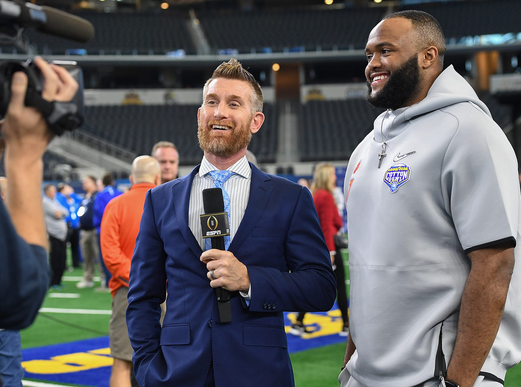 ESPN Marty Smith interviews defensive lineman Austin Bryant during the Tigers Cotton Bowl media day at AT&T Stadium in Arlington, TX Thursday, December 27, 2018.