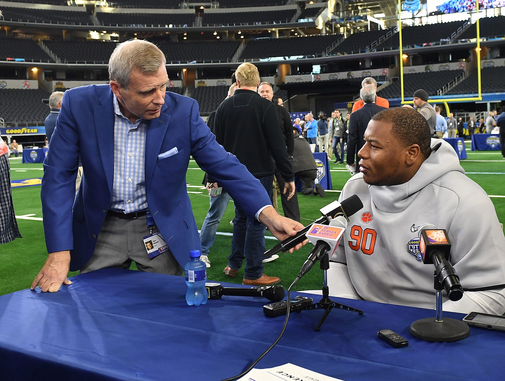 ESPN's Tom Rinaldi interviews Clemson defensive lineman Dexter Lawrence during the Tigers Cotton Bowl media day at AT&T Stadium in Arlington, TX Thursday, December 27, 2018.