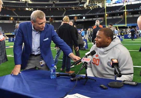 ESPN's Tom Rinaldi interviews Clemson defensive lineman Dexter Lawrence during the Tigers Cotton Bowl media day at AT&T Stadium in Arlington, TX Thursday, December 27, 2018.