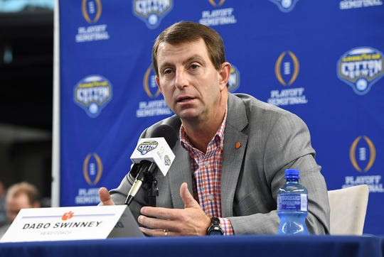 Clemson head coach Dabo Swinney answers questions during the Tigers Cotton Bowl media day at AT&T Stadium in Arlington, TX Thursday, December 27, 2018.