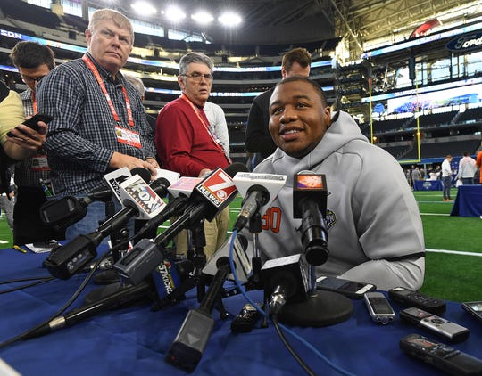 Clemson defensive lineman Dexter Lawrence answers questions during the Tigers Cotton Bowl media day at AT&T Stadium in Arlington, TX Thursday, December 27, 2018.