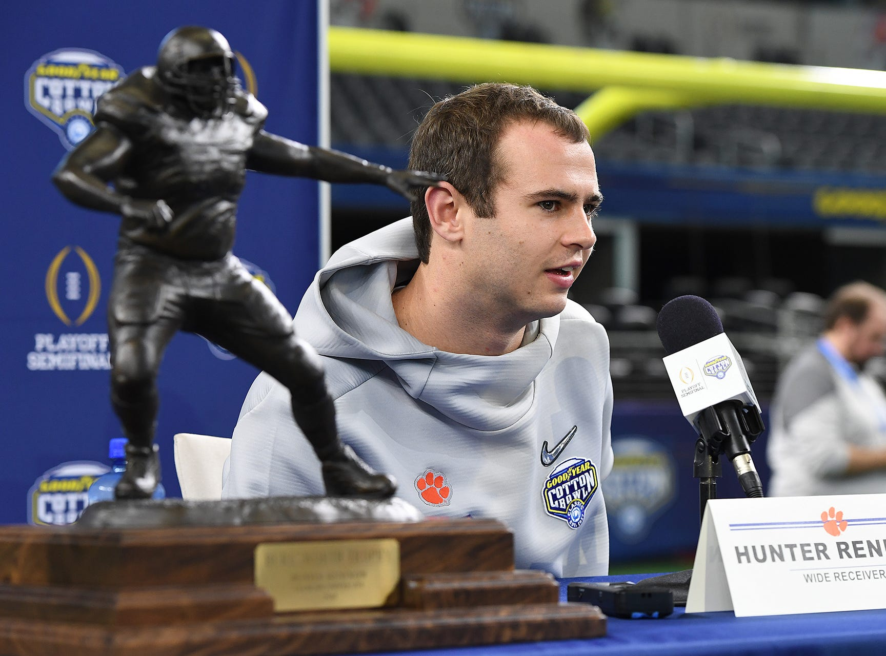 Clemson wide receiver Hunter Renfrow (13) answers questions during the Tigers Cotton Bowl media day at AT&T Stadium in Arlington, TX Thursday, December 27, 2018.