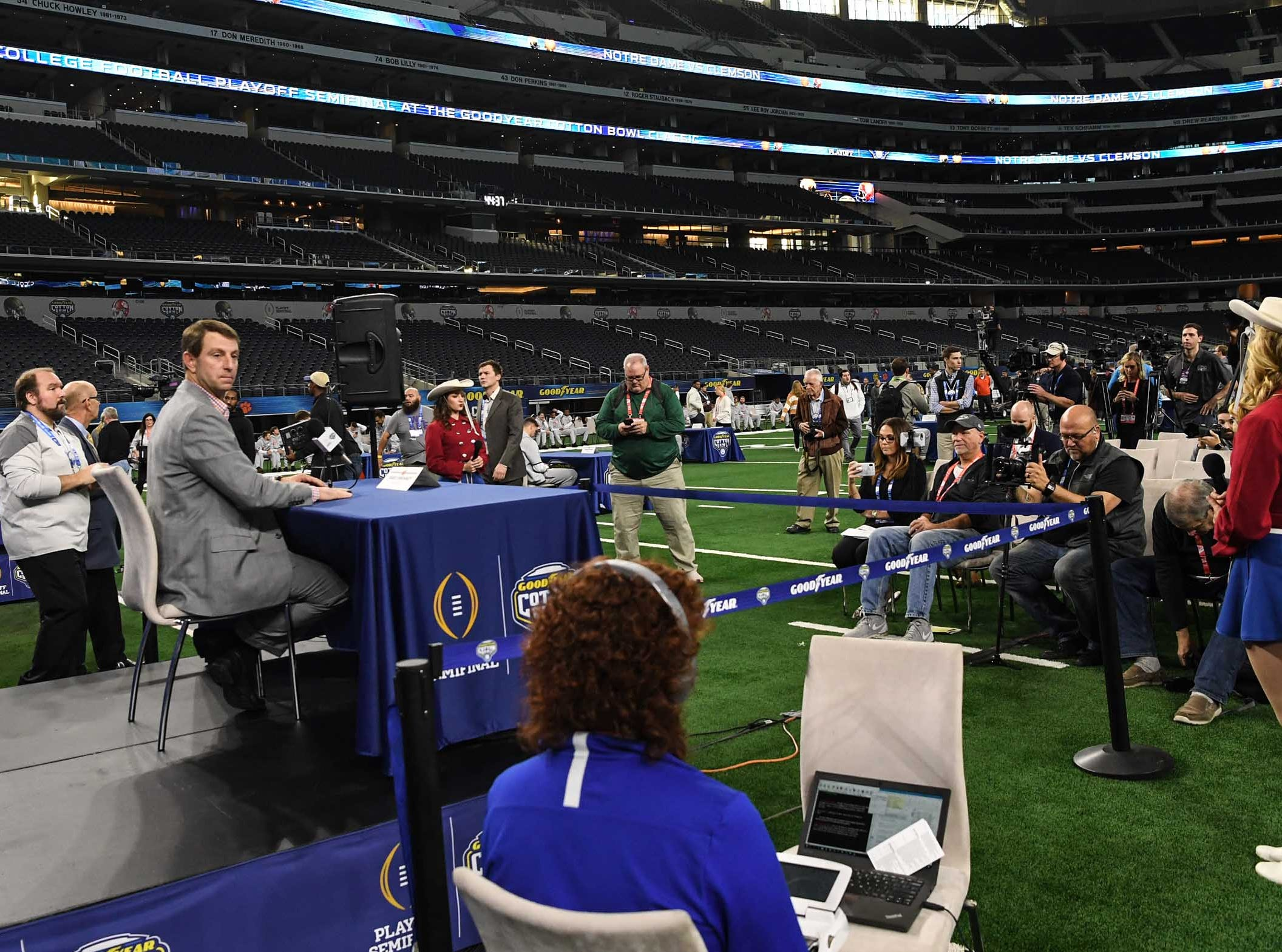 Clemson Head Coach Dabo Swinney during Media Day for Clemson and Notre Dame at the AT&T Stadium in Dallas December 27, 2018.