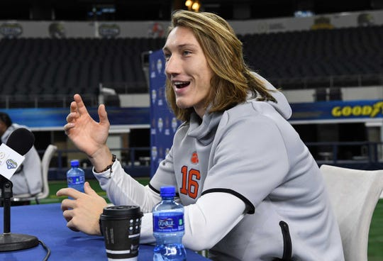 Clemson quarterback Trevor Lawrence during Media Day for Clemson and Notre Dame at the AT&T Stadium in Dallas December 27, 2018.
